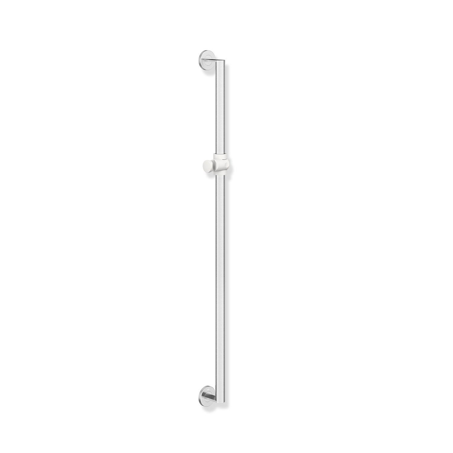 1100mm Freestyle Supportive Shower Rail with a satin steel finish on a white background