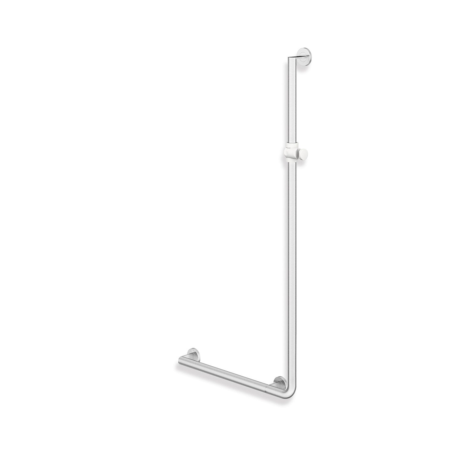 1250x600mm Left Handed Freestyle Supportive L Shaped Shower Rail with a satin steel finish on a white background