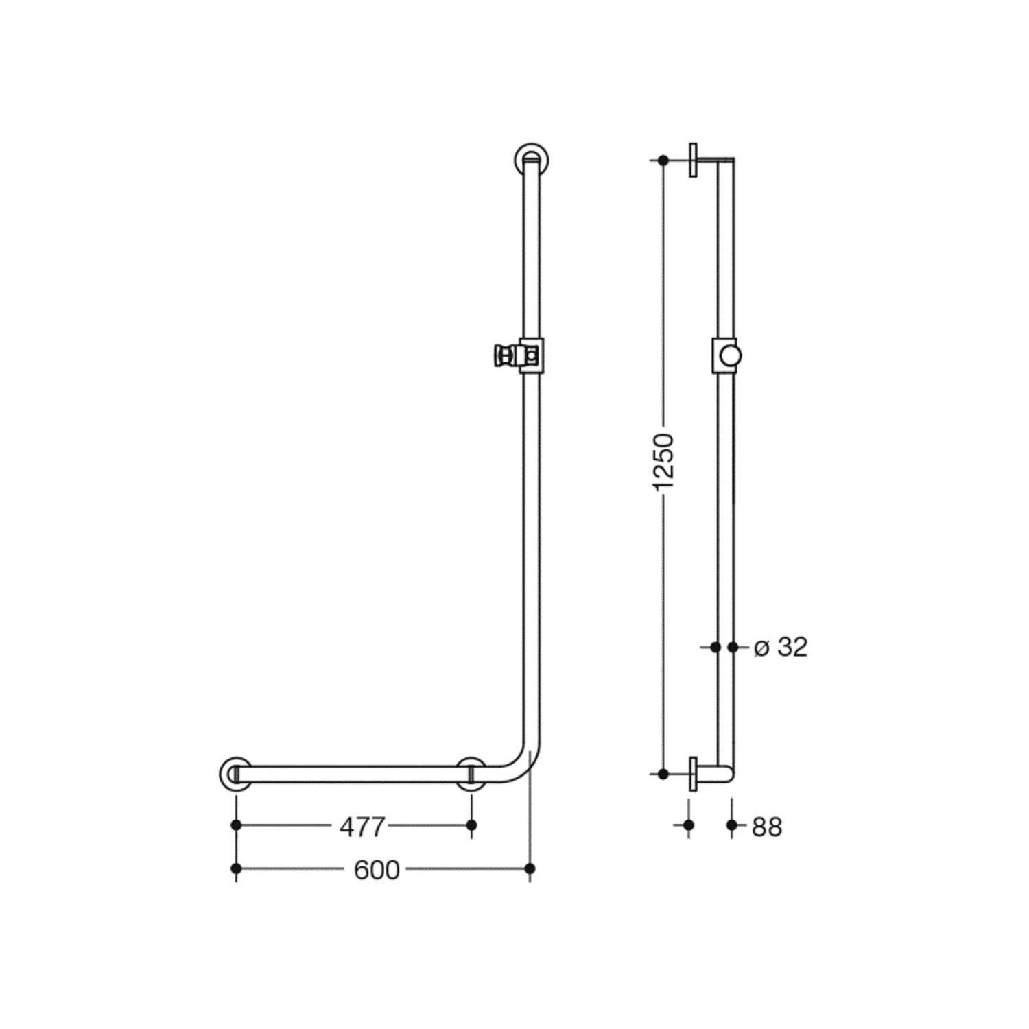 1250x600mm Left Handed Freestyle Supportive L Shaped Shower Rail with a satin steel finish dimensional drawing