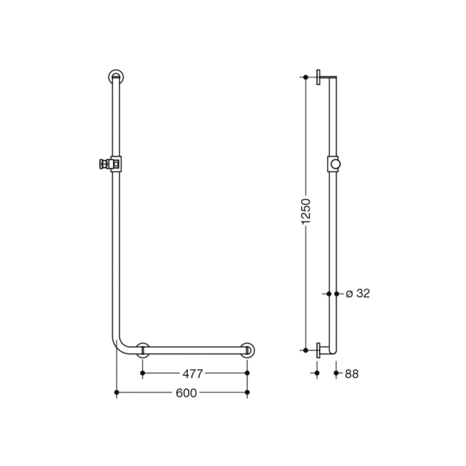 1250x600mm Right Handed Freestyle Supportive L Shaped Shower Rail with a satin steel finish dimensional drawing