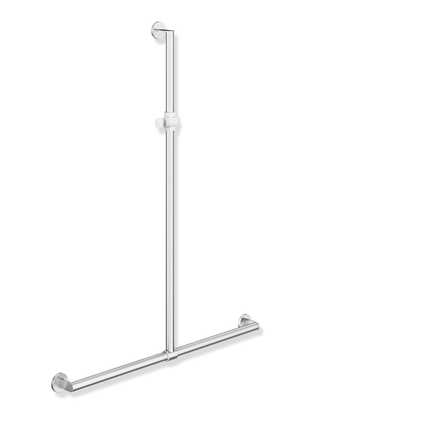 1250x1185mm Freestyle Supportive T Shaped Shower Rail with a satin steel finish on a white background