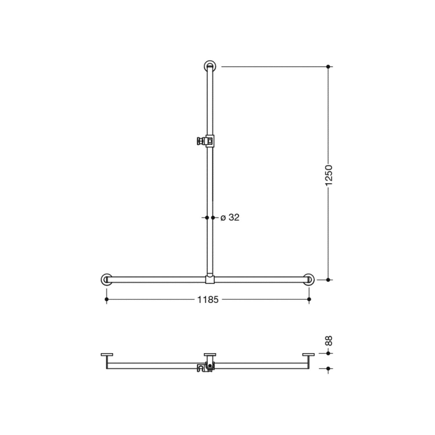 1250x1185mm Freestyle Supportive T Shaped Shower Rail with a satin steel finish dimensional drawing