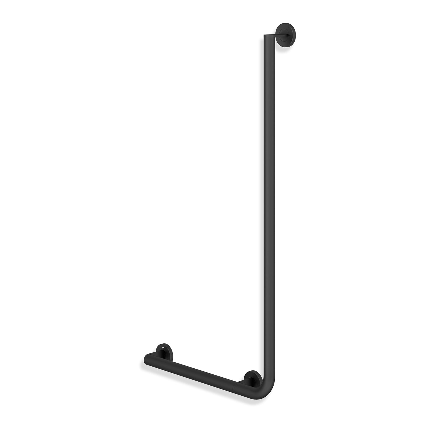 1000x500mm Left Handed Freestyle L Shaped Grab Rail with a matt black finish on a white background