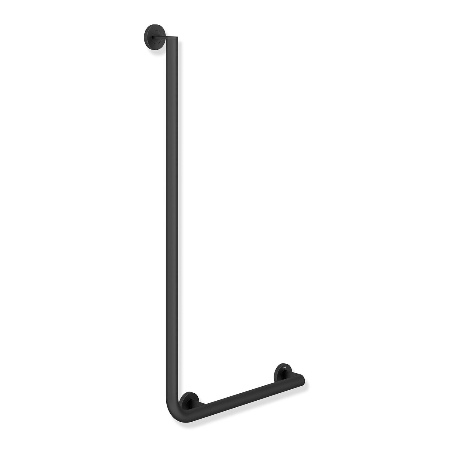 1000x500mm Right Handed Freestyle L Shaped Grab Rail with a matt black finish on a white background