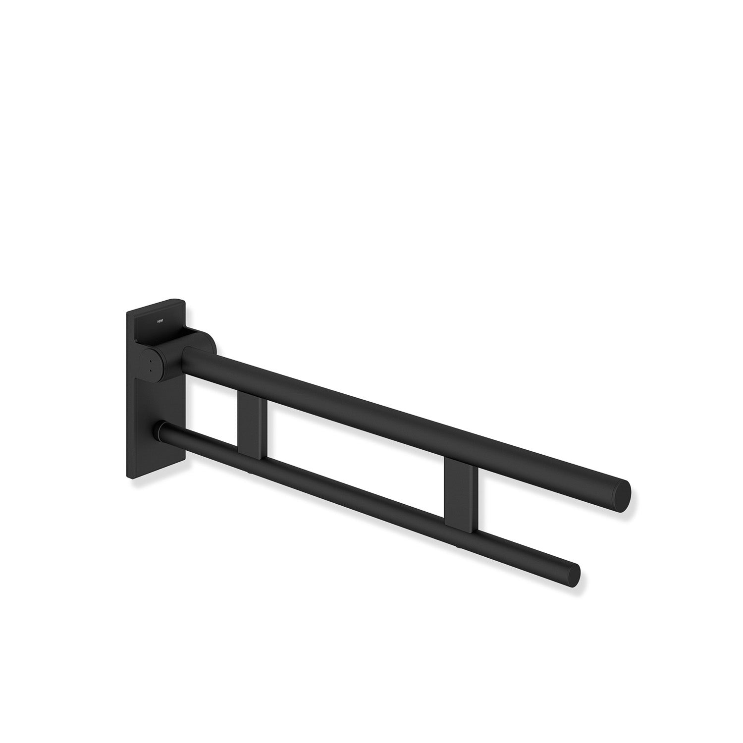 600mm Freestyle Hinged Grab Rail with a matt black finish on a white background
