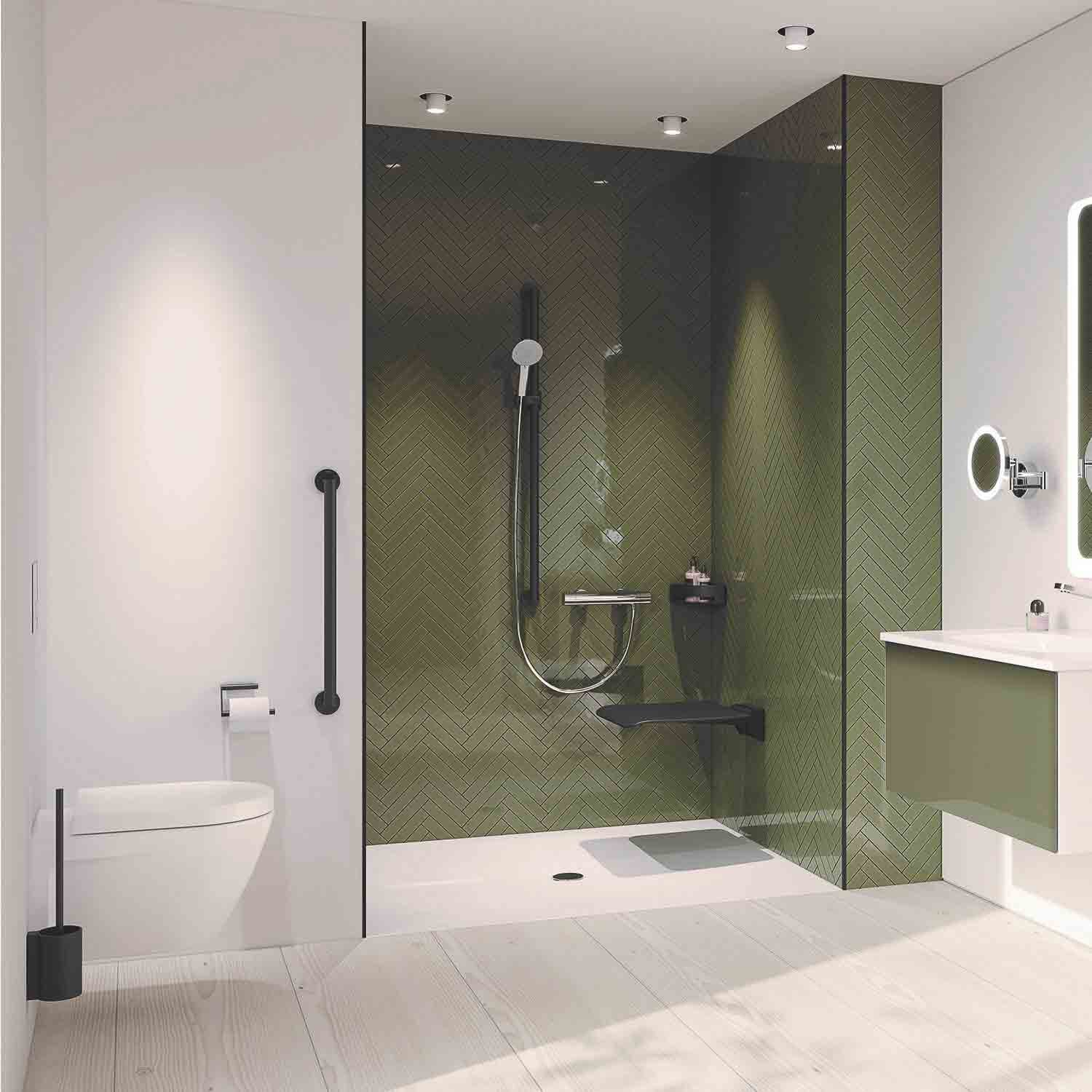 1100mm Freestyle Supportive Shower Rail with a matt black finish lifestyle image