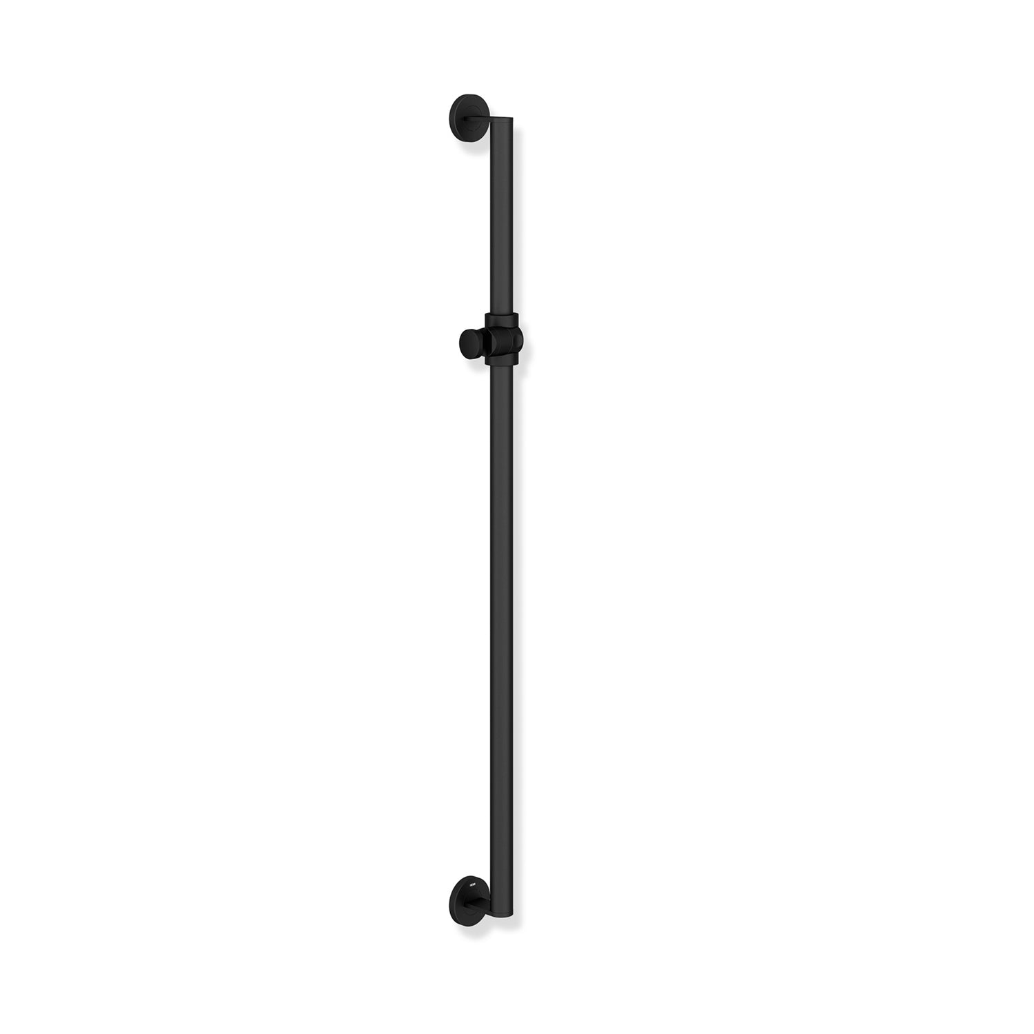 1100mm Freestyle Supportive Shower Rail with a matt black finish on a white background
