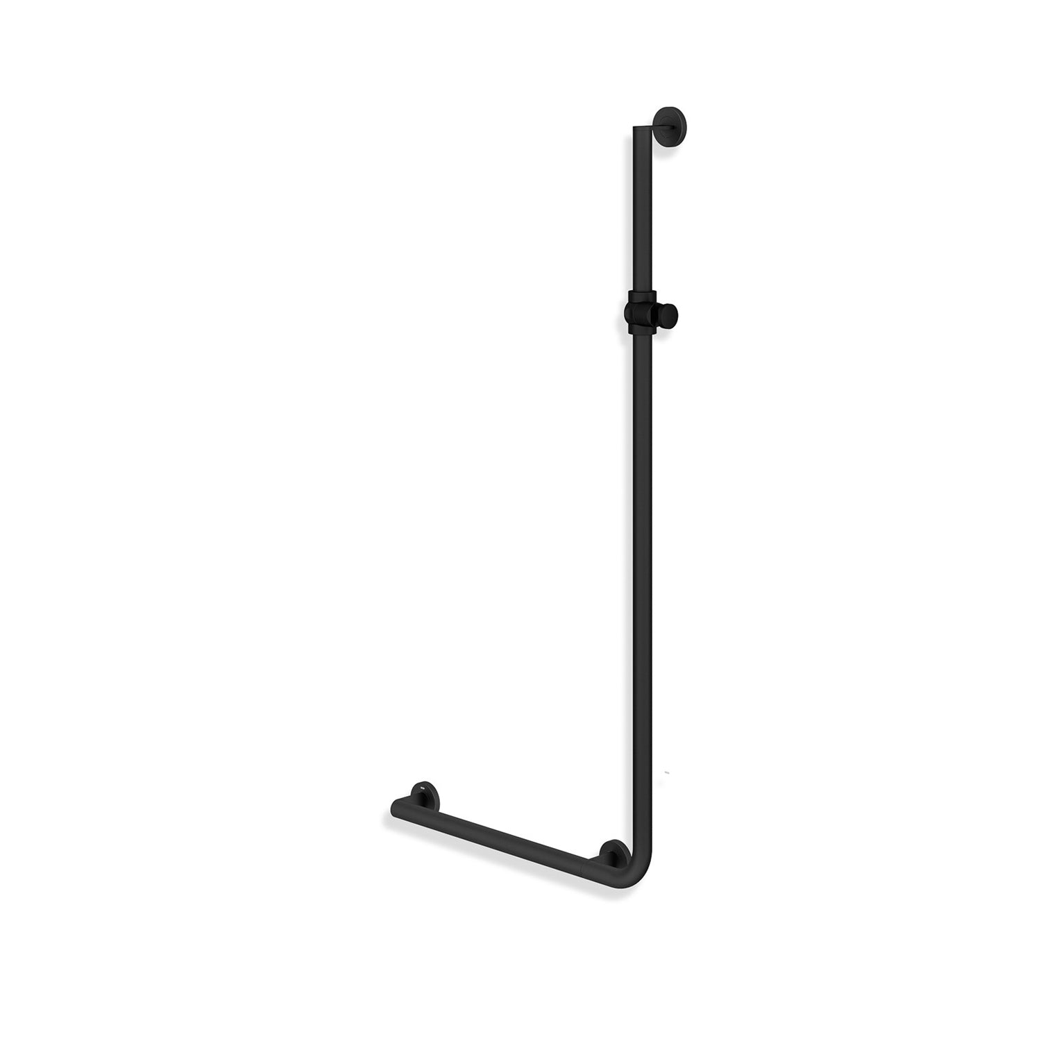 1250x600mm Left Handed Freestyle Supportive L Shaped Shower Rail with a matt black finish on a white background