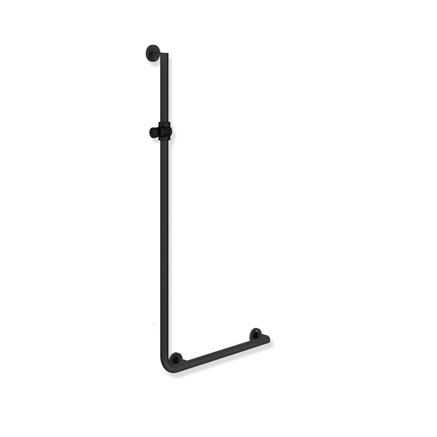 1250x600mm Right Handed Freestyle Supportive L Shaped Shower Rail with a matt black finish on a white background