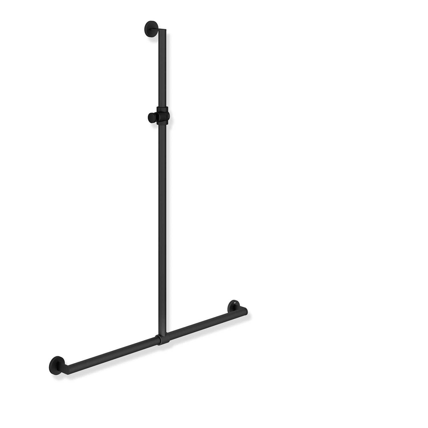 1250x1185mm Freestyle Supportive T Shaped Shower Rail with a matt black finish on a white background