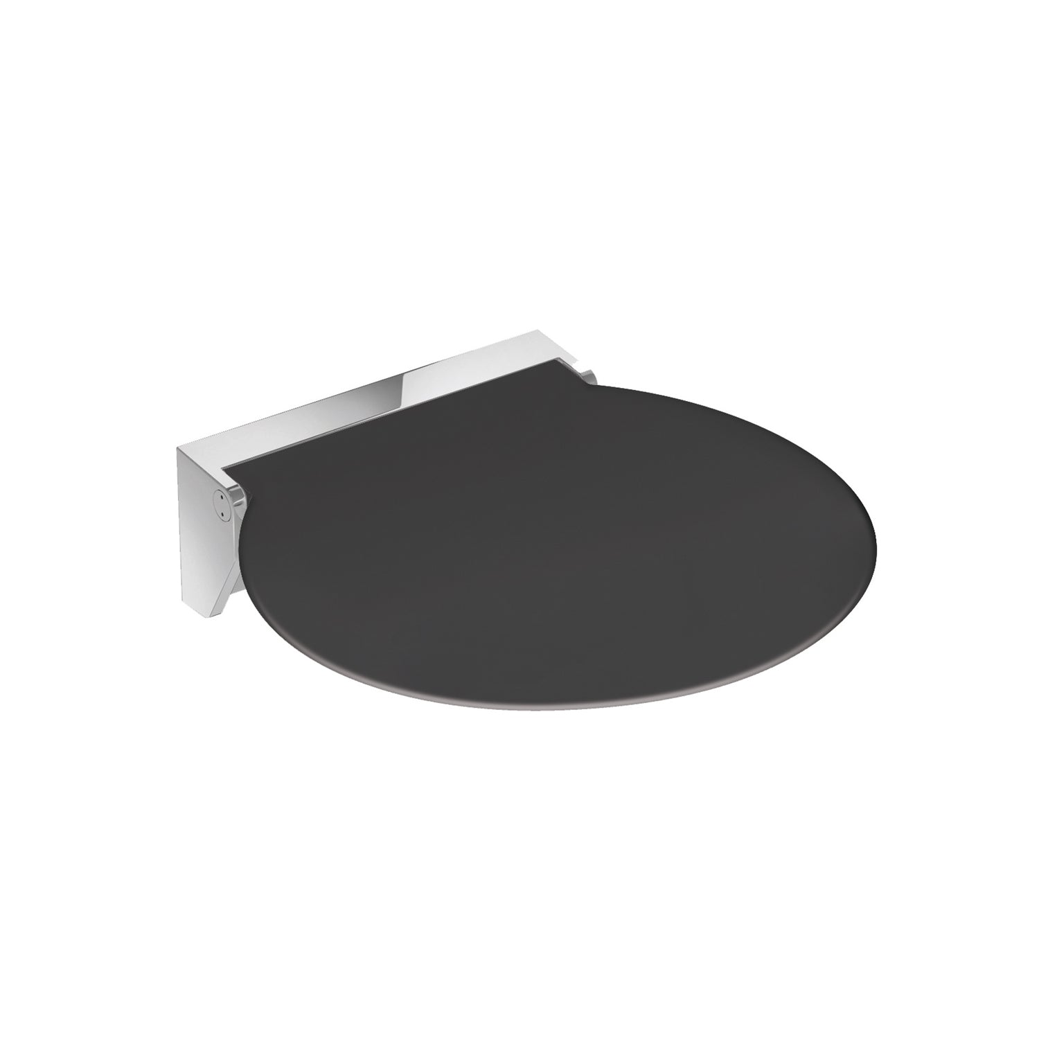Circula Shower Seat with an anthracite grey seat and chrome bracket on a white background