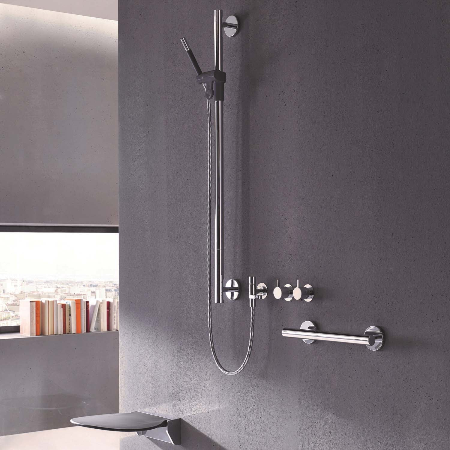 Circula Shower Seat with an anthracite grey seat and chrome bracket lifestyle image