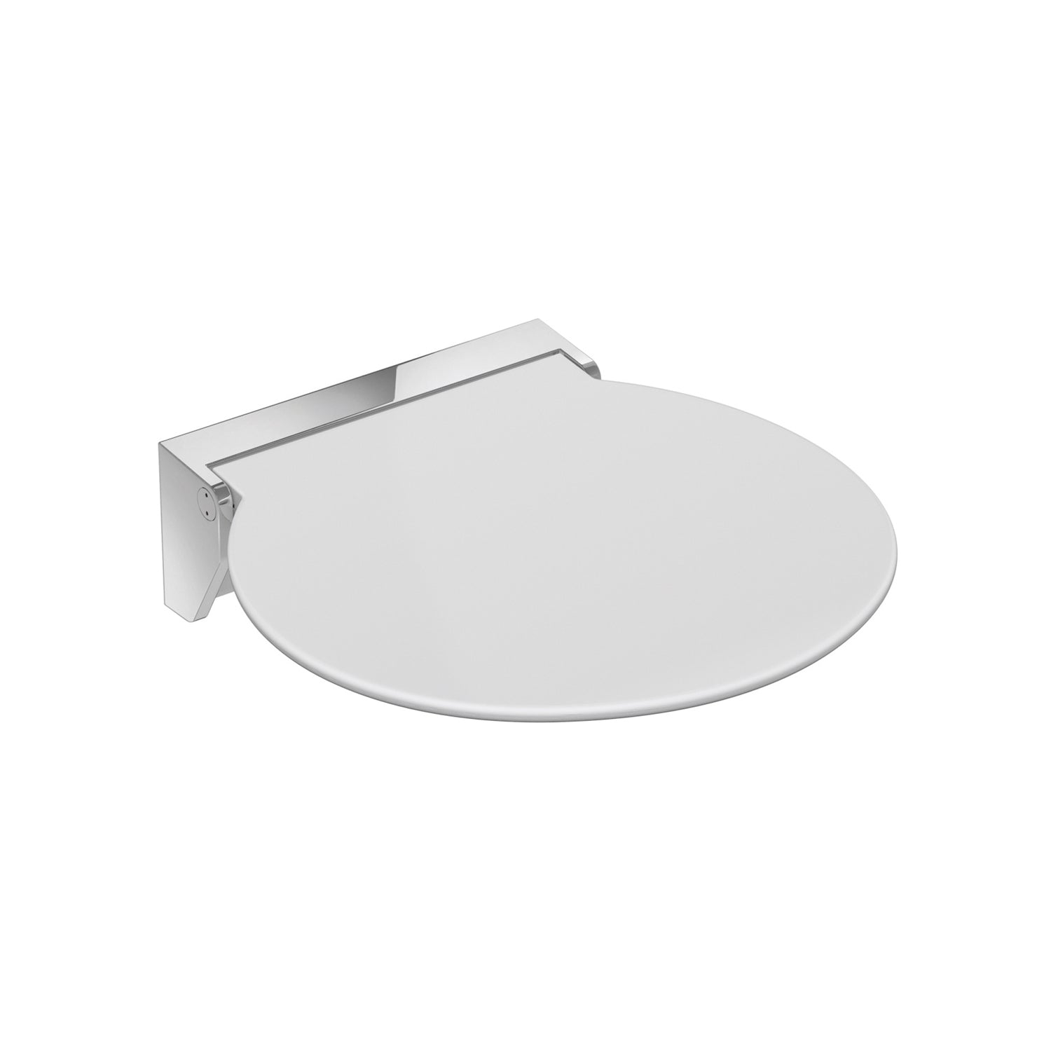 Circula Shower Seat with a white seat and chrome bracket on a white background