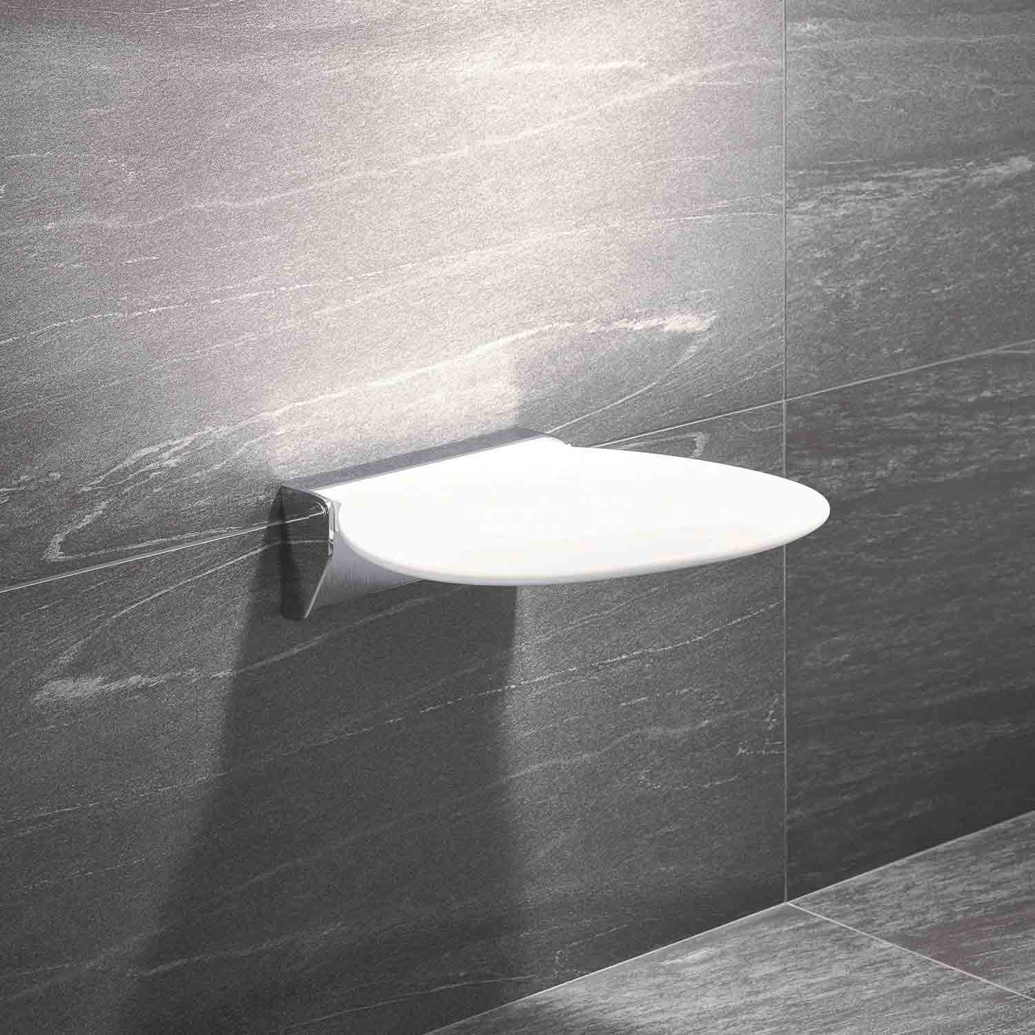 Circula Shower Seat with a white seat and chrome bracket lifestyle image