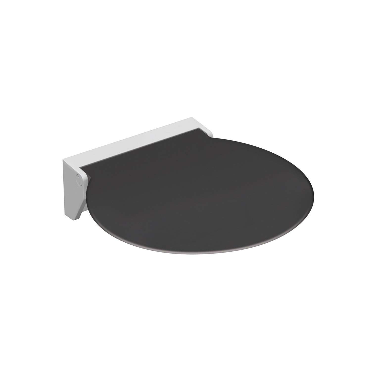 Circula Shower Seat with an anthracite grey seat and white bracket on a white background