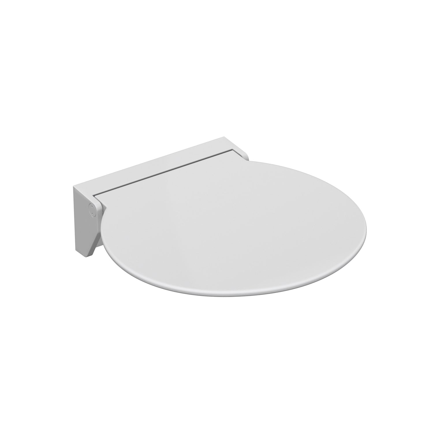 Circula Shower Seat with a white seat and white bracket on a white background