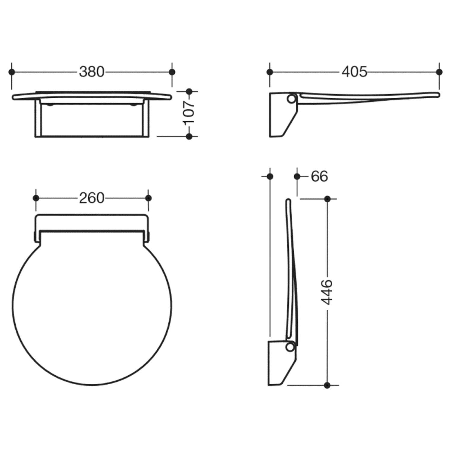Circula Shower Seat with a white seat and white bracket dimensional drawing