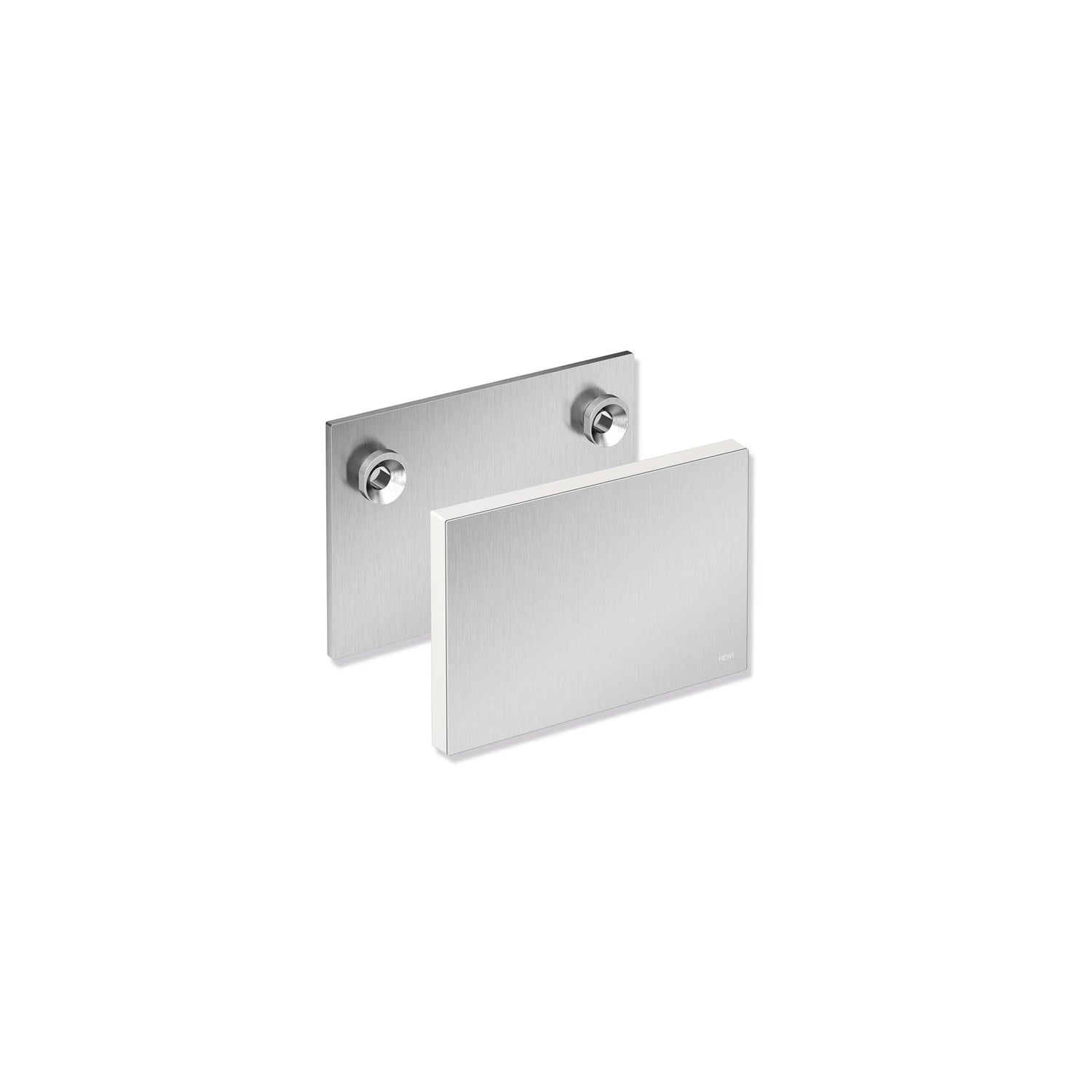 Freestyle Removable Shower Seat Mounting Plate and Cover with a satin steel finish on a white background