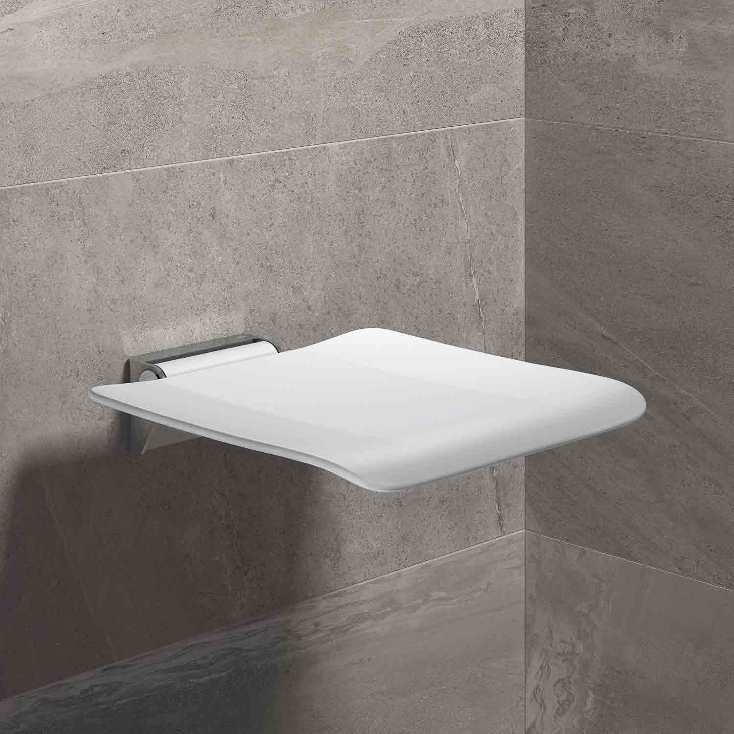 Freestyle Fixed Shower Seat with a white seat and chrome finish bracket lifestyle image