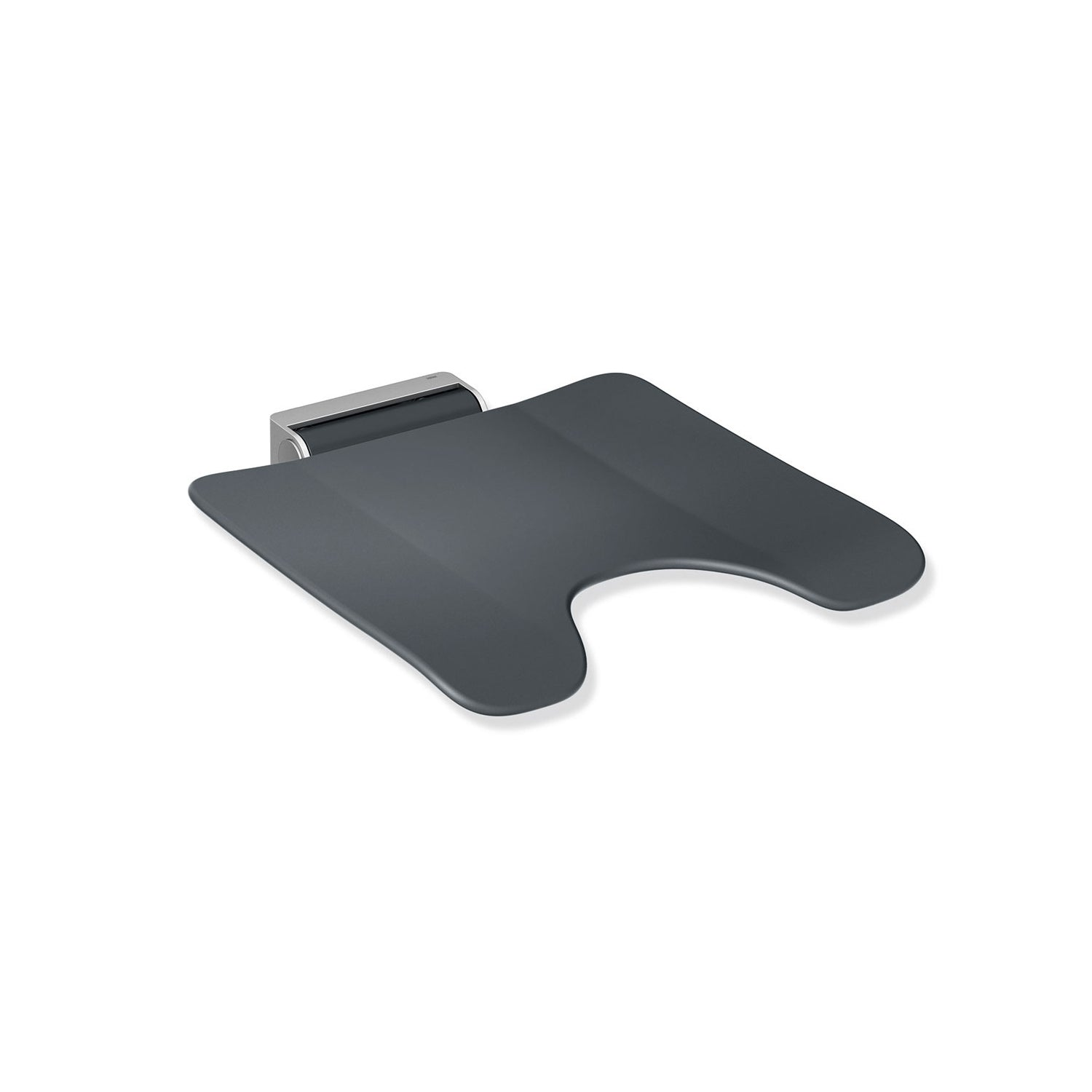 Freestyle Fixed Shower Seat with a cut-out in an anthracite grey seat and satin steel finish bracket on a white background