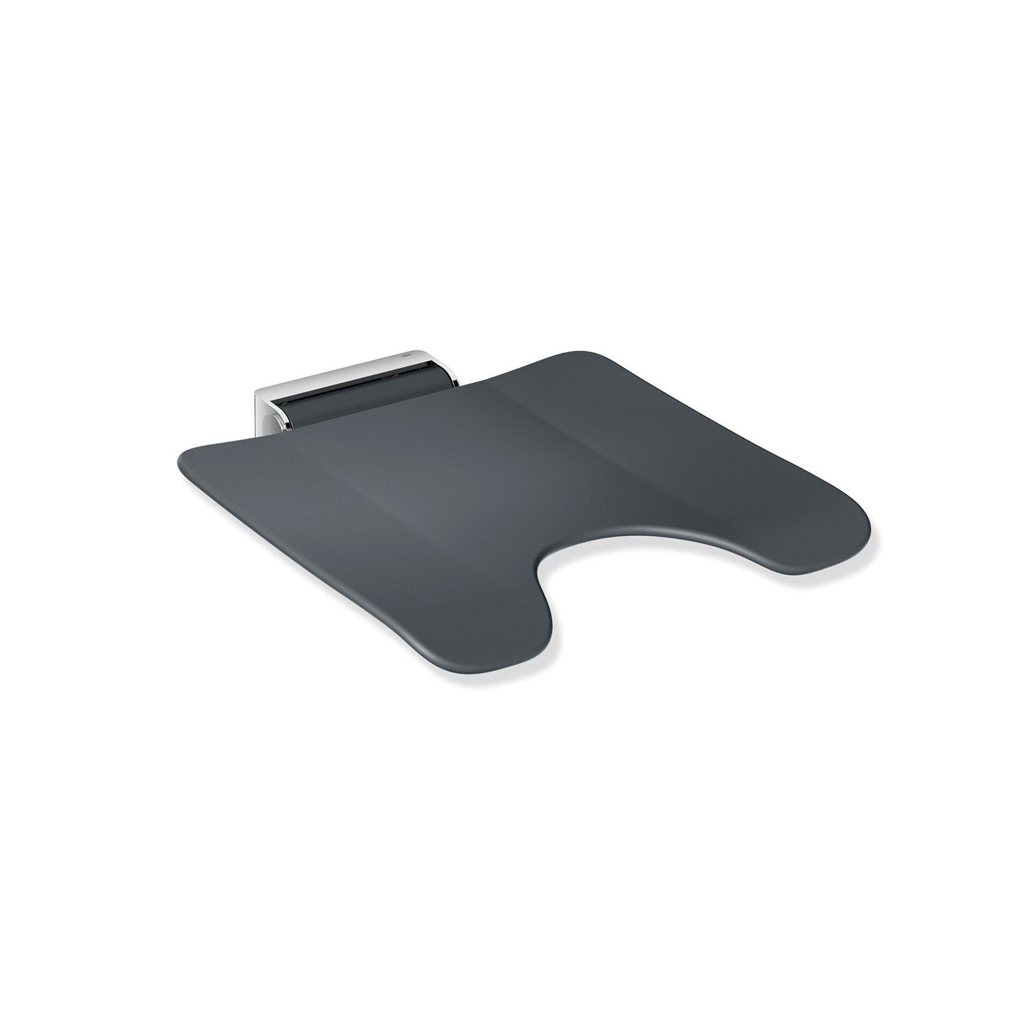 Freestyle Removable Shower Seat with a cut-out in an anthracite grey seat and chrome bracket on a white background