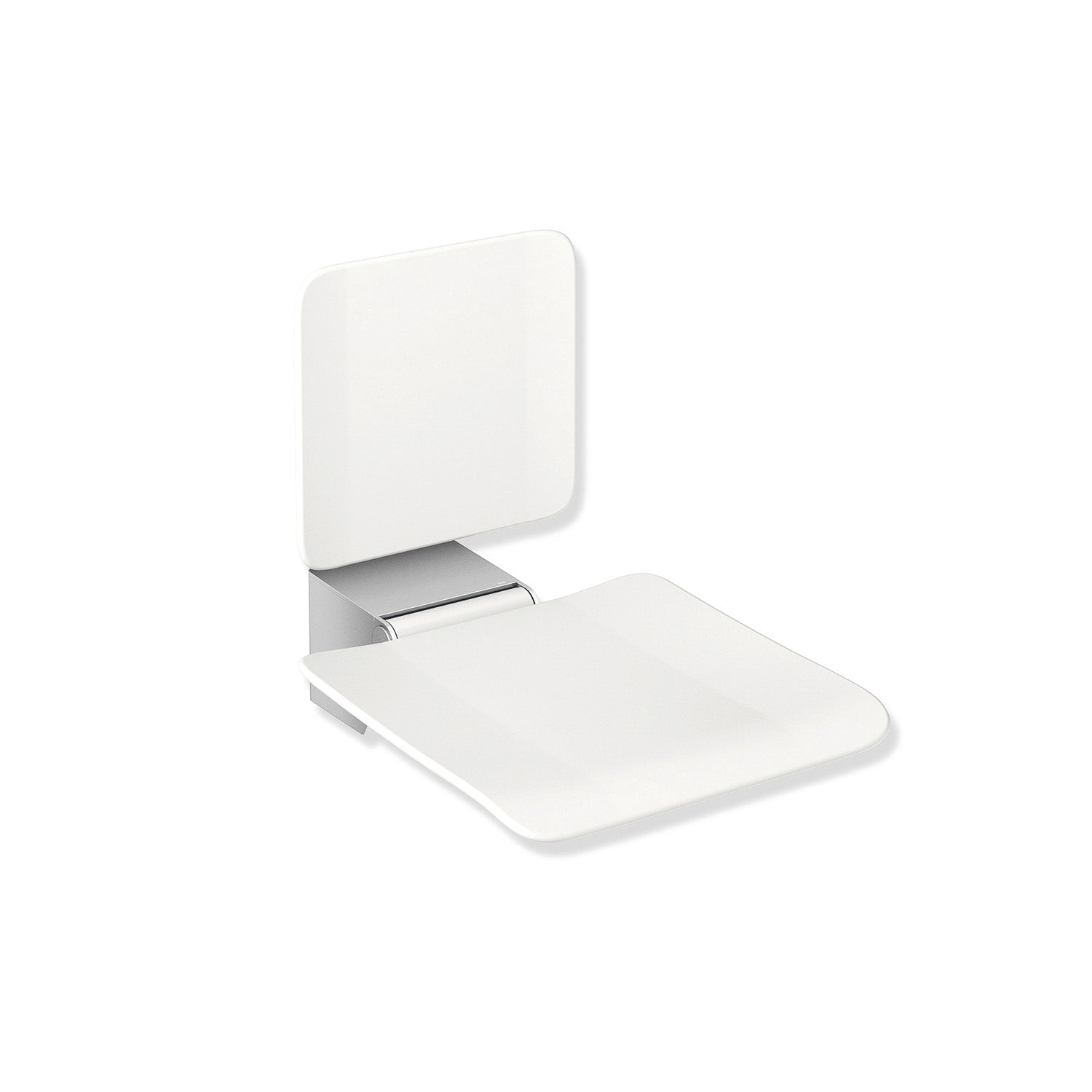 Freestyle Fixed Shower Seat with a Backrest in a white seat and satin steel finish bracket on a white background