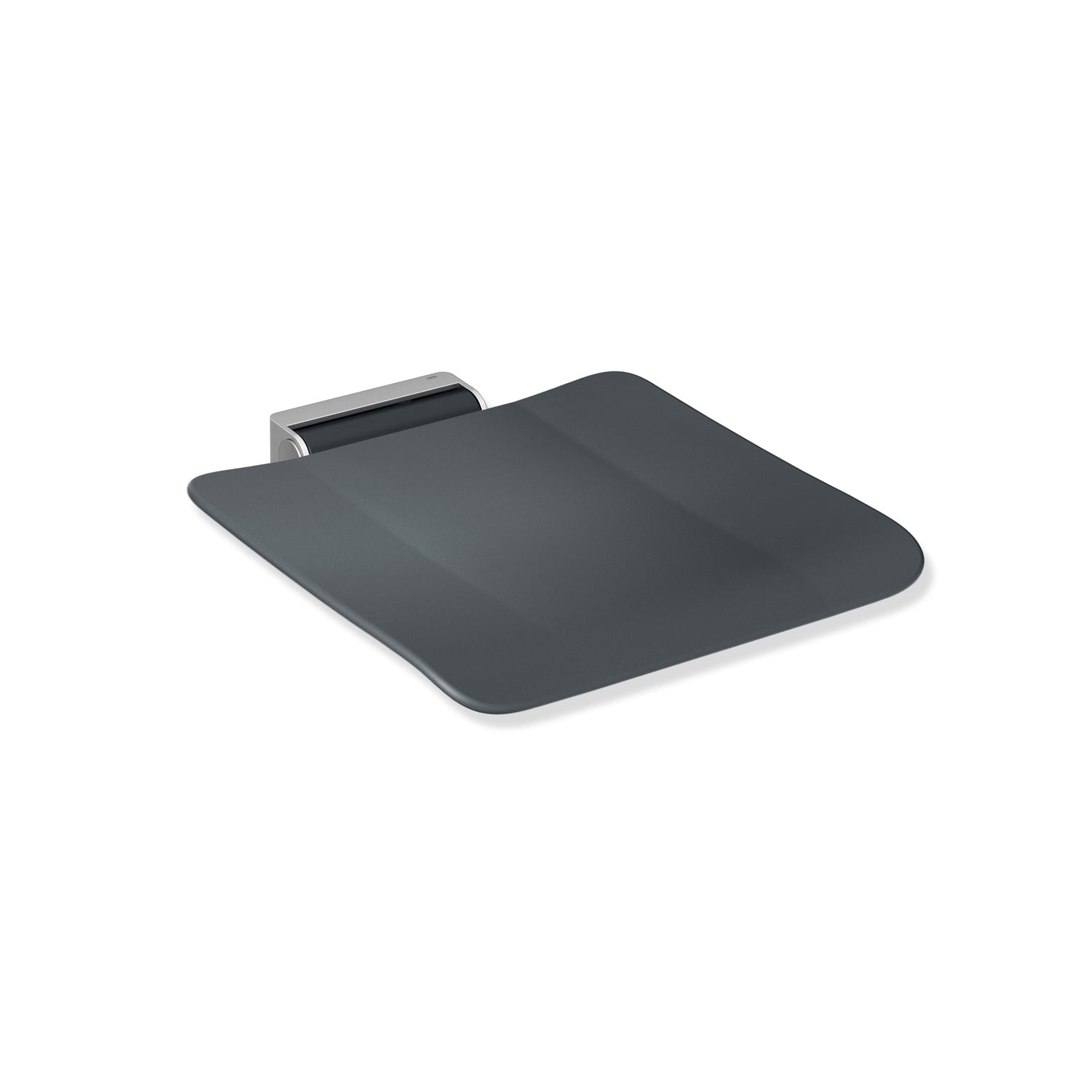 Freestyle Removable Shower Seat with an anthracite grey seat and satin steel bracket on a white background