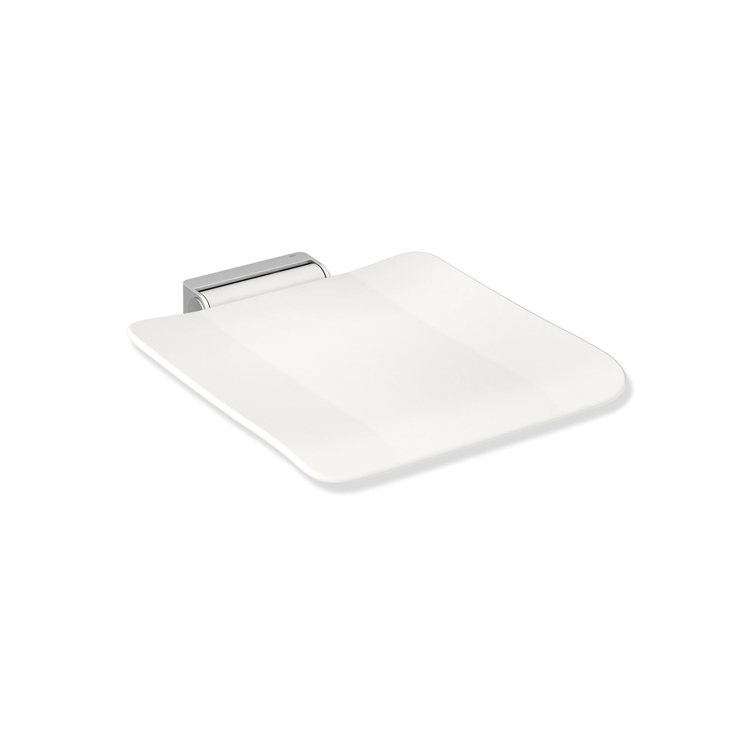 Freestyle Removable Shower Seat Set with a white Seat Set and satin steel bracket on a white background
