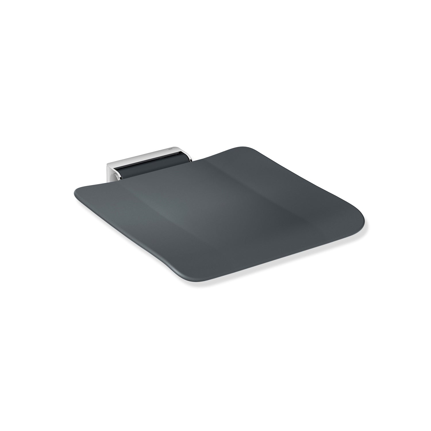 Freestyle Removable Shower Seat with an anthracite grey seat and chrome bracket on a white background