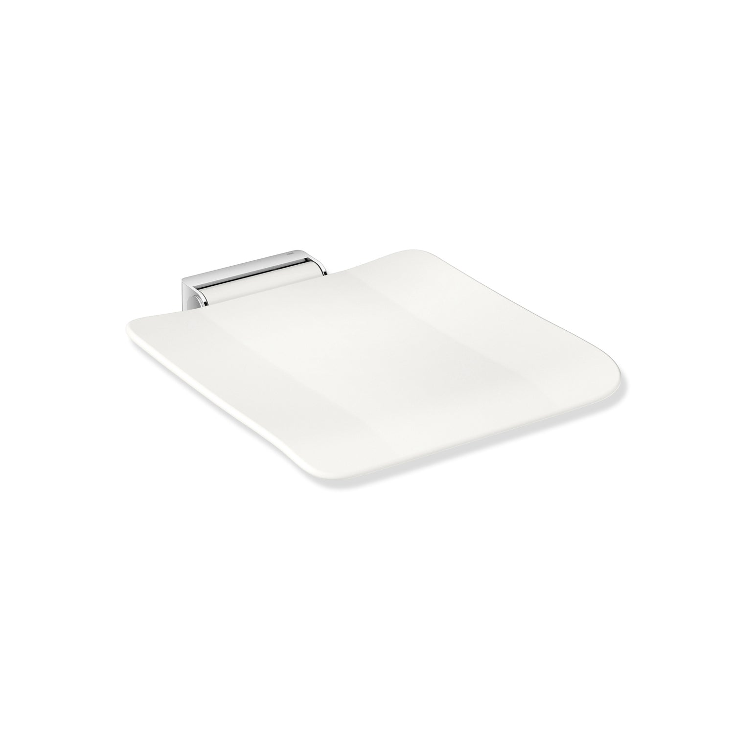 Freestyle Removable Shower Seat Set with a white Seat Set and chrome bracket on a white background