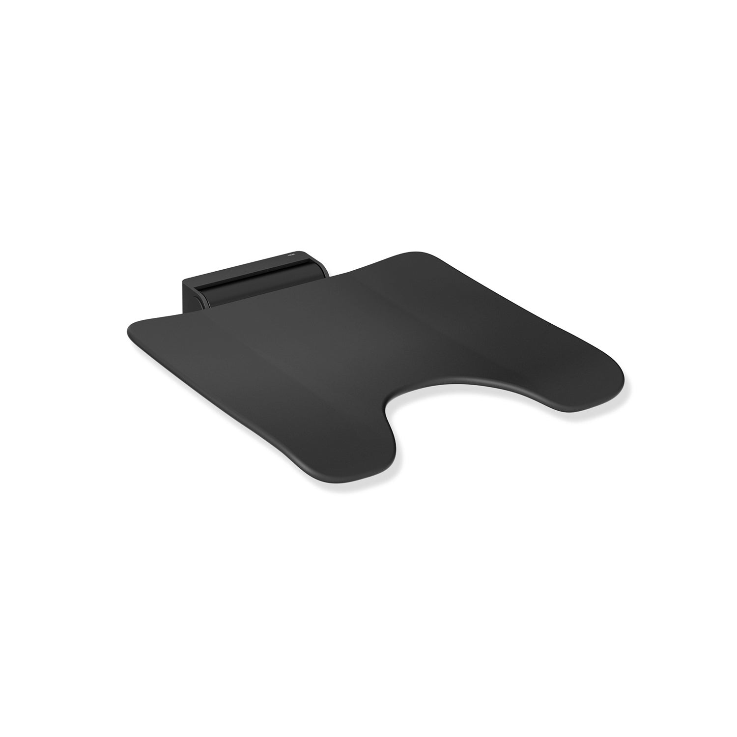 Freestyle Fixed Shower Seat with a cut-out in a matt black seat and matt black finish bracket on a white background