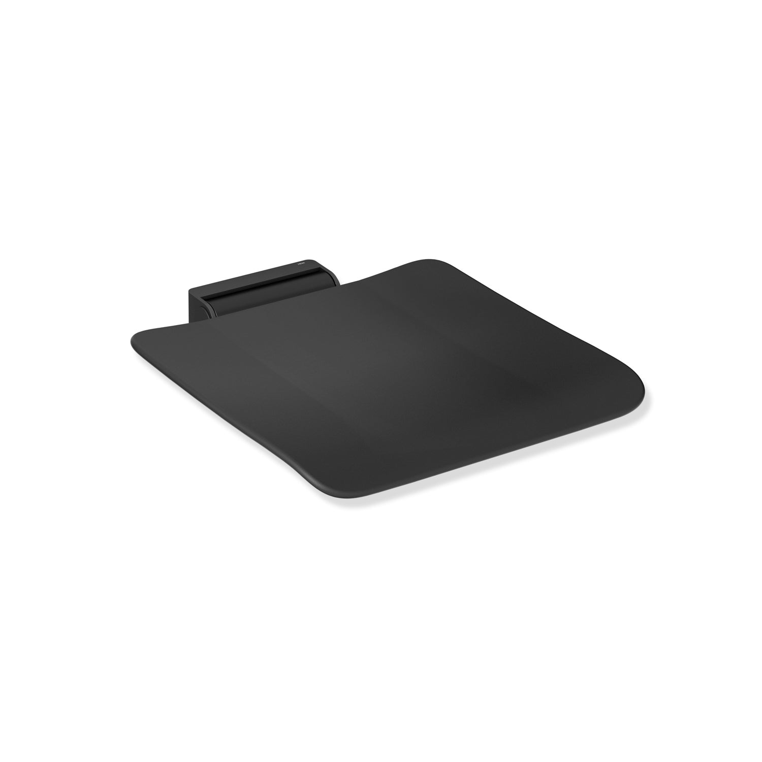 Freestyle Removable Shower Seat with a matt black seat and matt black bracket on a white background