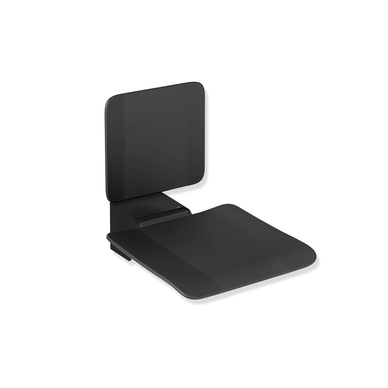 Freestyle Fixed Shower Seat with a Backrest in a matt black seat and matt black finish bracket on a white background