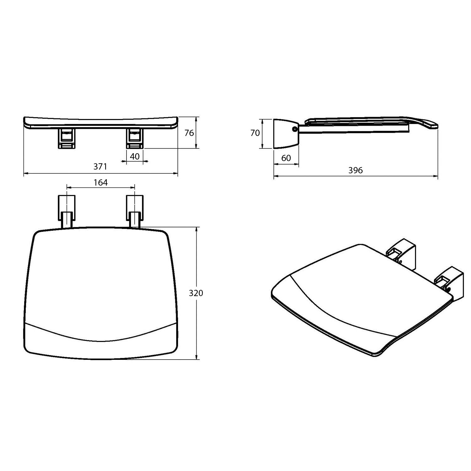 Esense Fixed Shower Seat with a black seat dimensional drawing