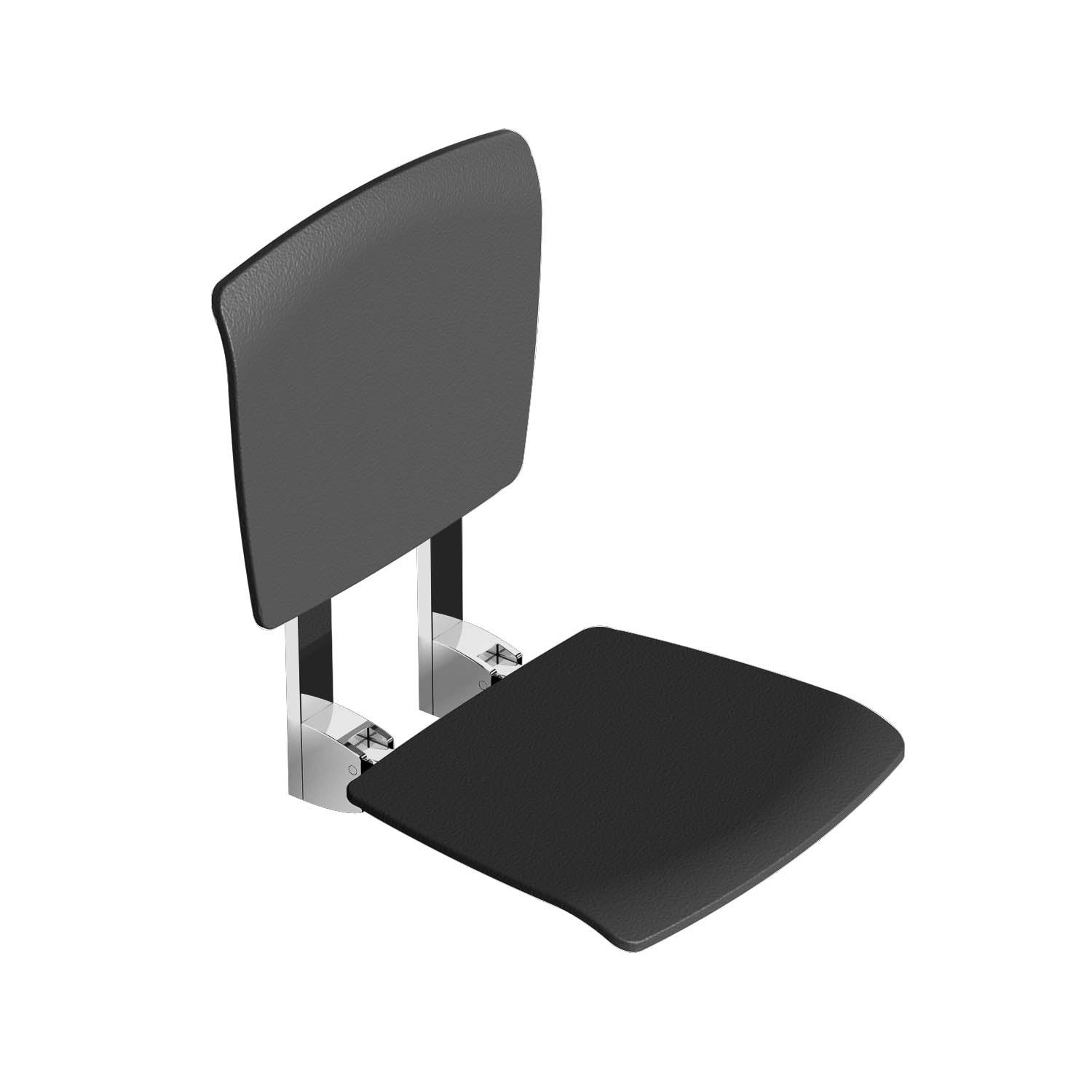 Esense Fixed Shower Seat and backrest with a black finish on a white background