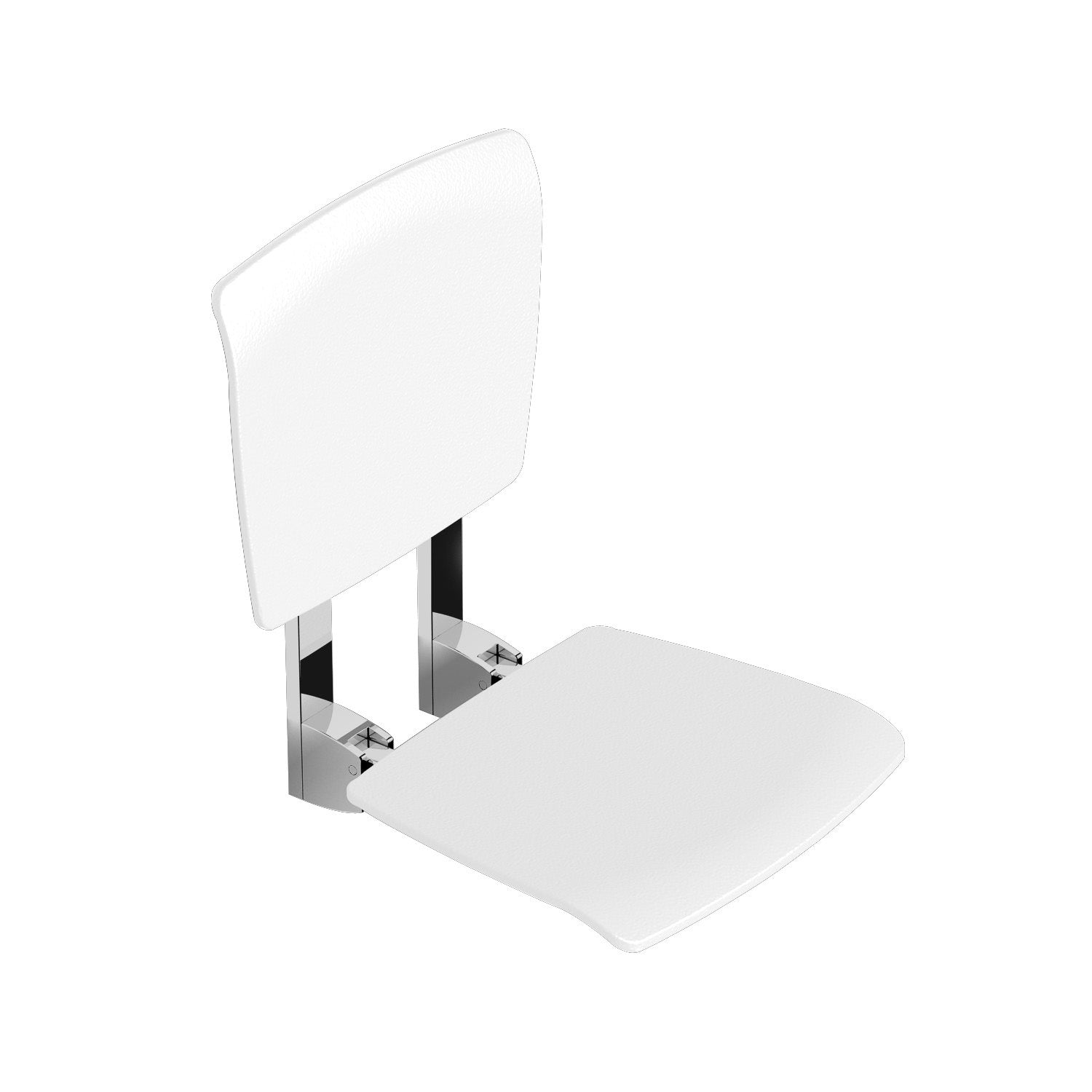 Esense Fixed Shower Seat and backrest with a white finish on a white background