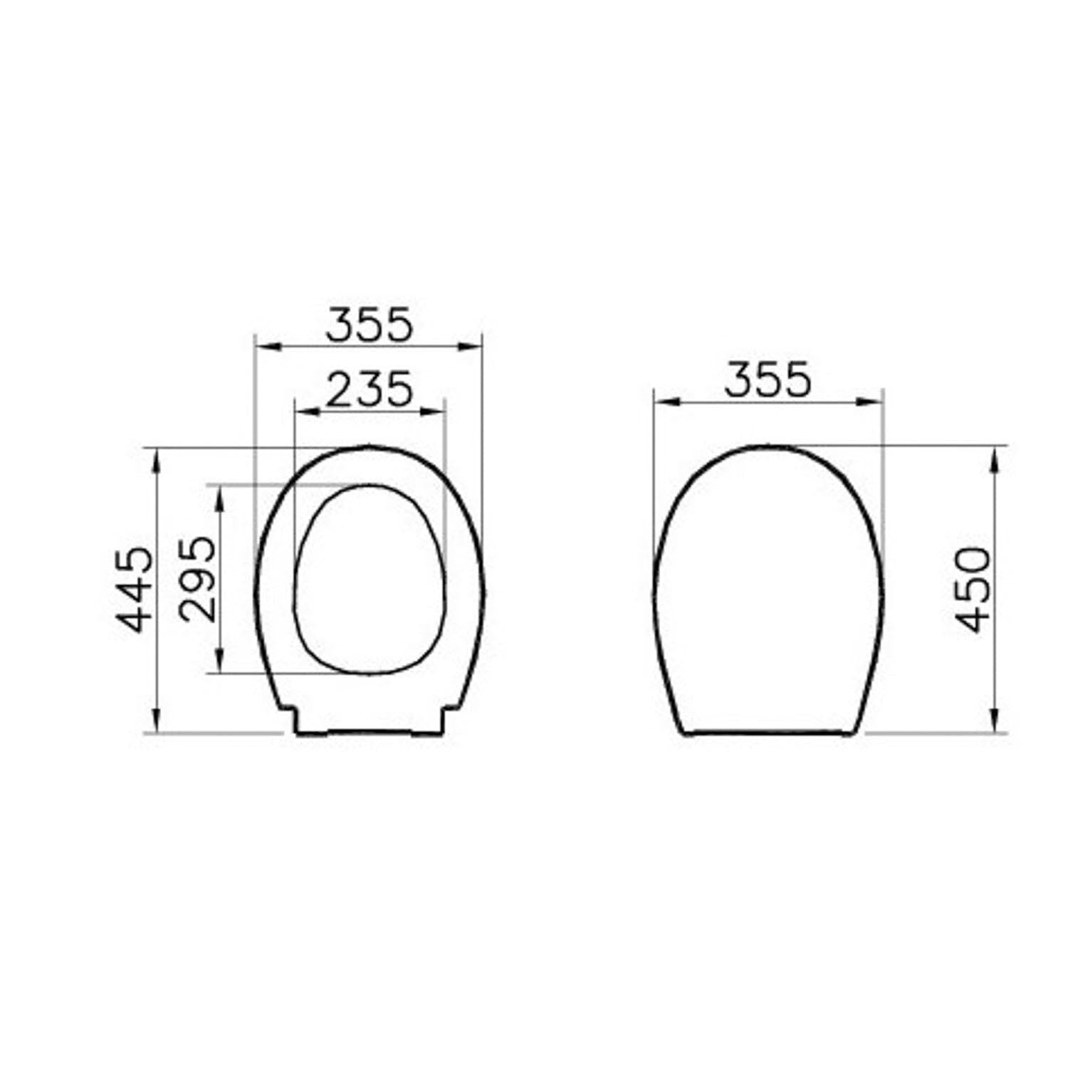 Consilio Toilet Seat and Cover dimensional drawing