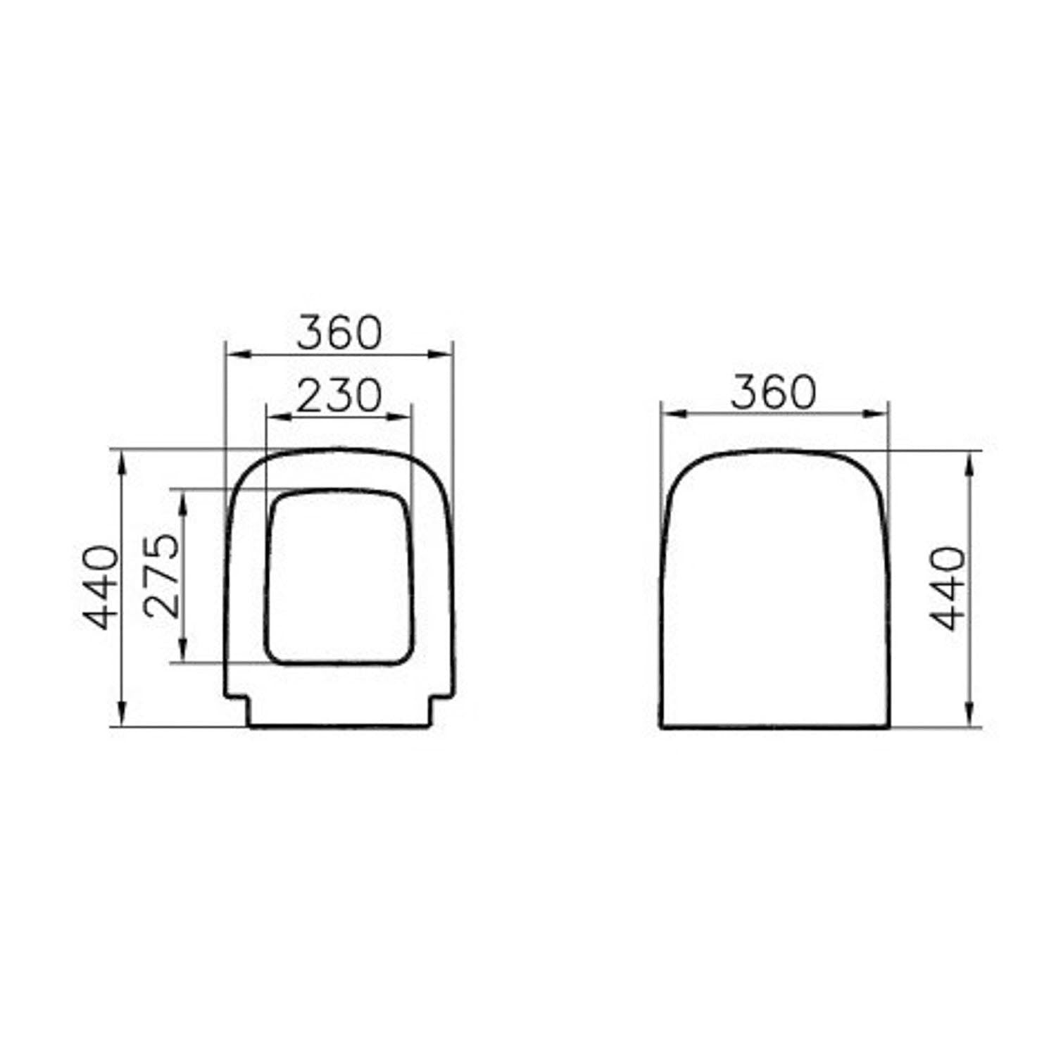 Consilio Close Coupled Toilet Seat and Cover dimensional drawing