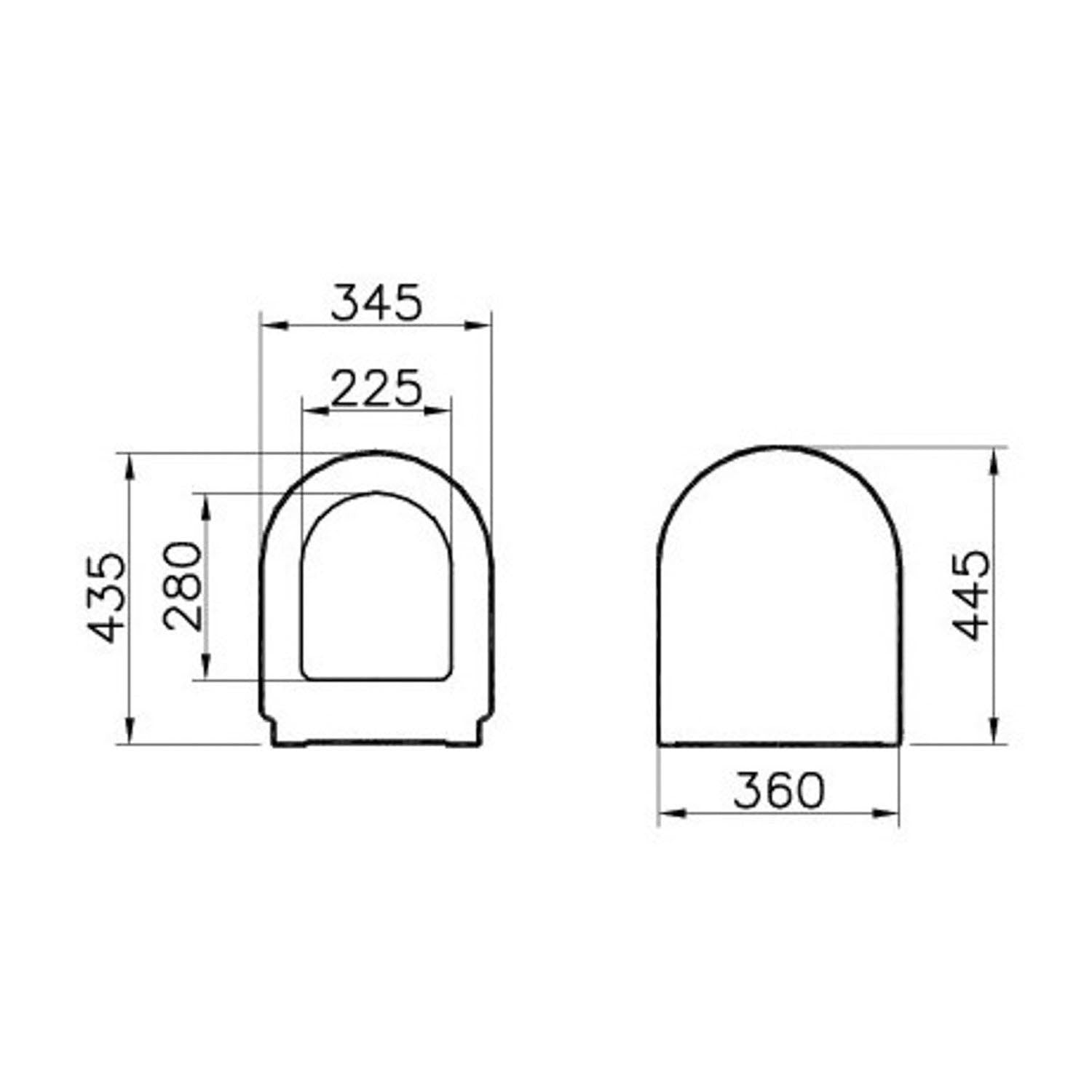 Vesta Close Coupled Seat and Cover dimensional drawing