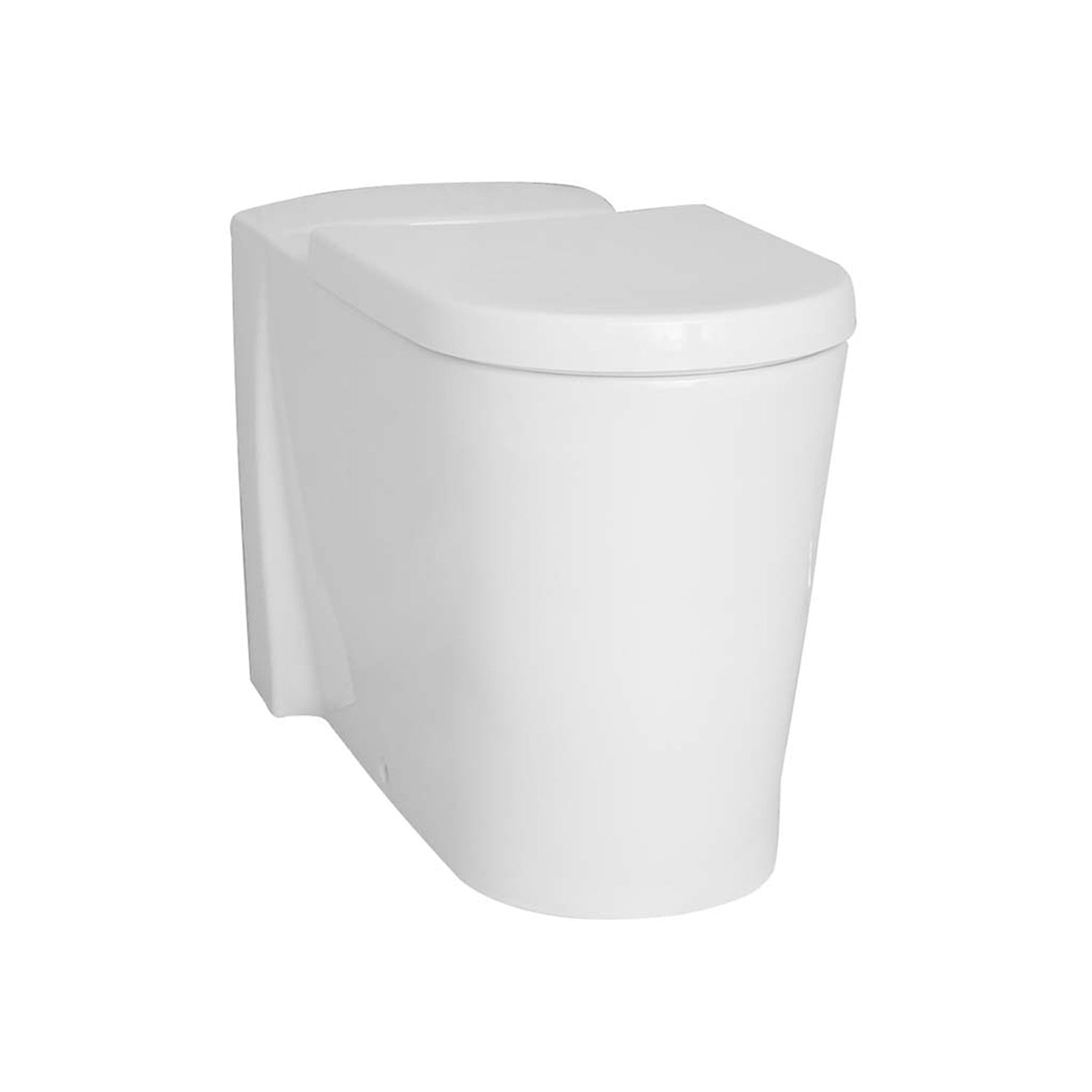 750mm Matrix Long Projection Back to Wall Toilet with a seat and cover on a white background