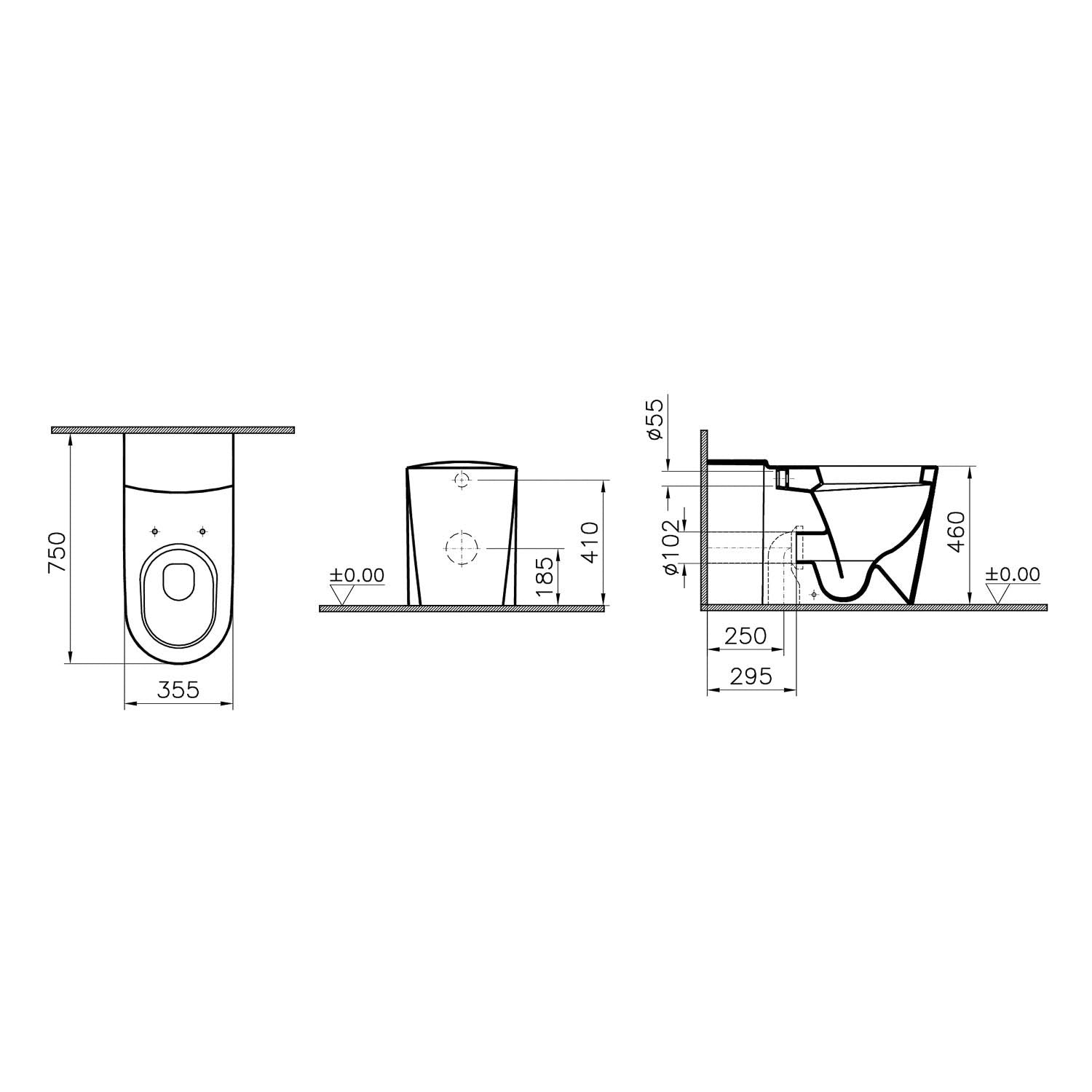 750mm Matrix Long Projection Back to Wall Toilet with a seat and cover dimensional drawing