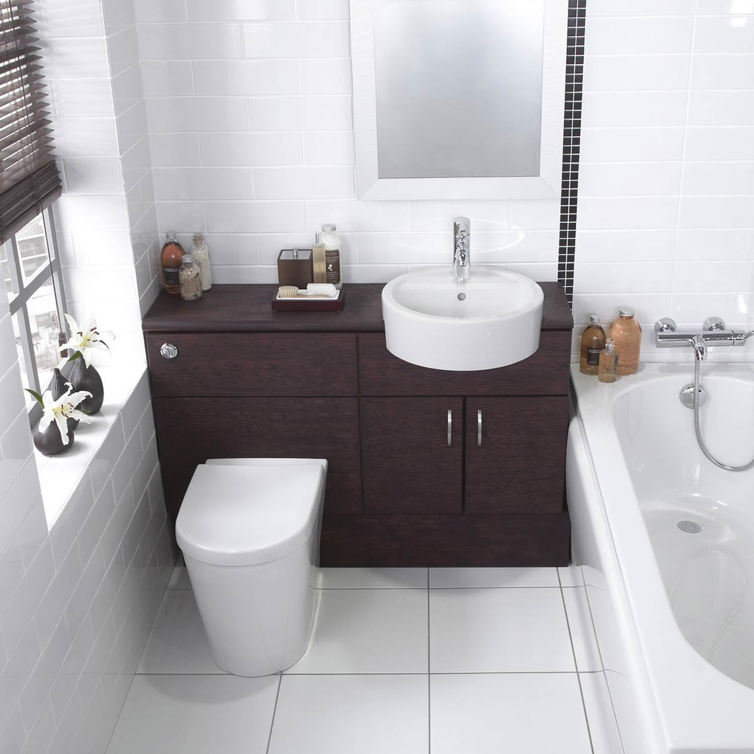 750mm Matrix Long Projection Back to Wall Toilet with a seat and no cover lifestyle image