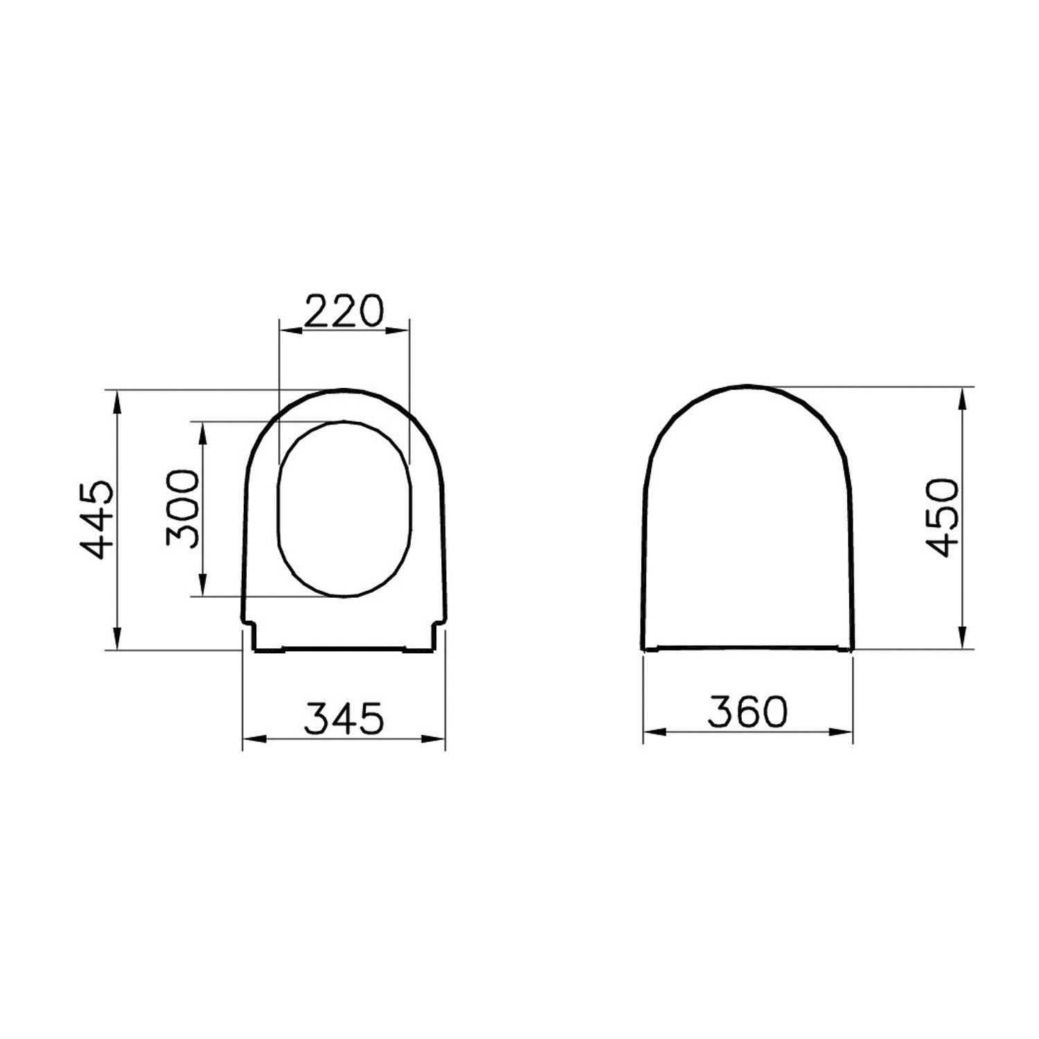 Matrix Long Projection Toilet Seat and Cover dimensional drawing