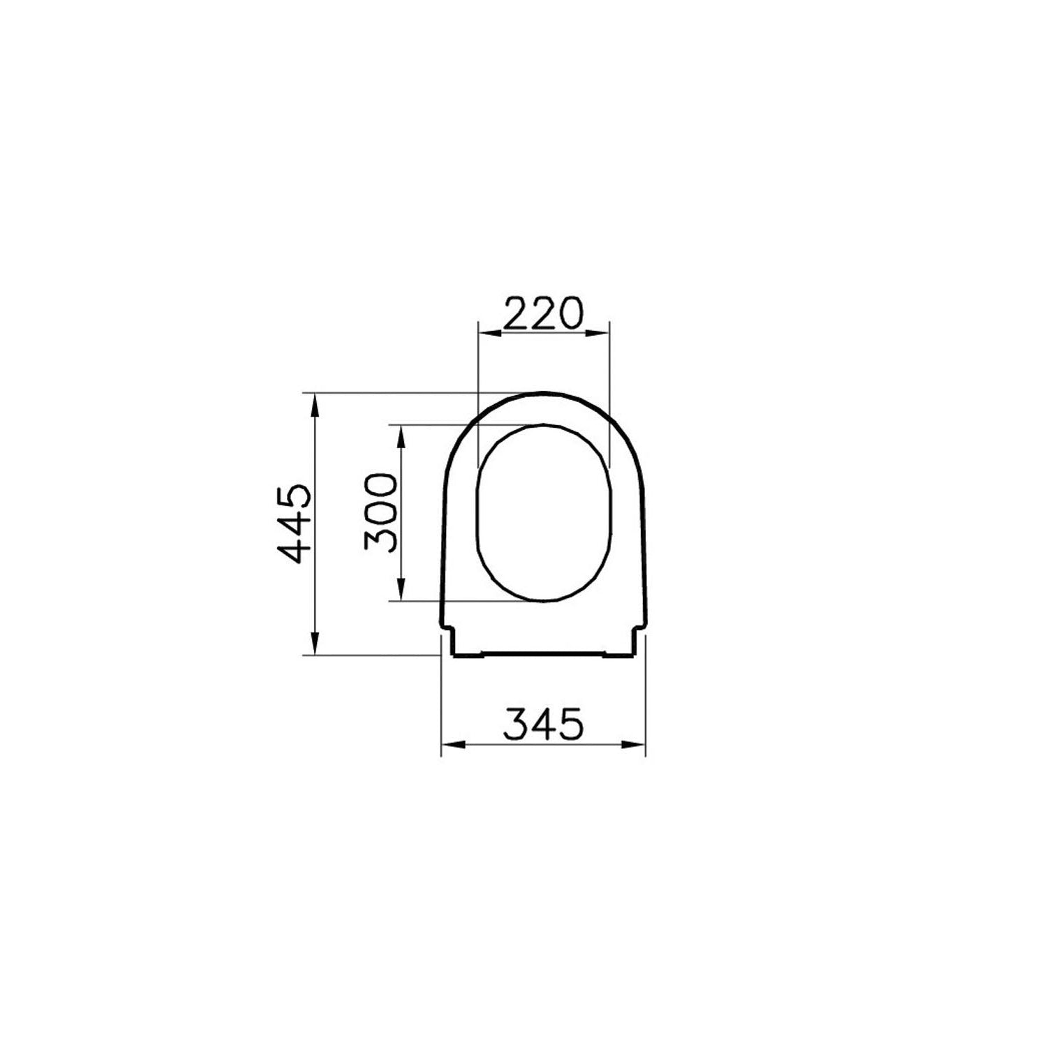 Matrix Long Projection Toilet Seat Ring dimensional drawing