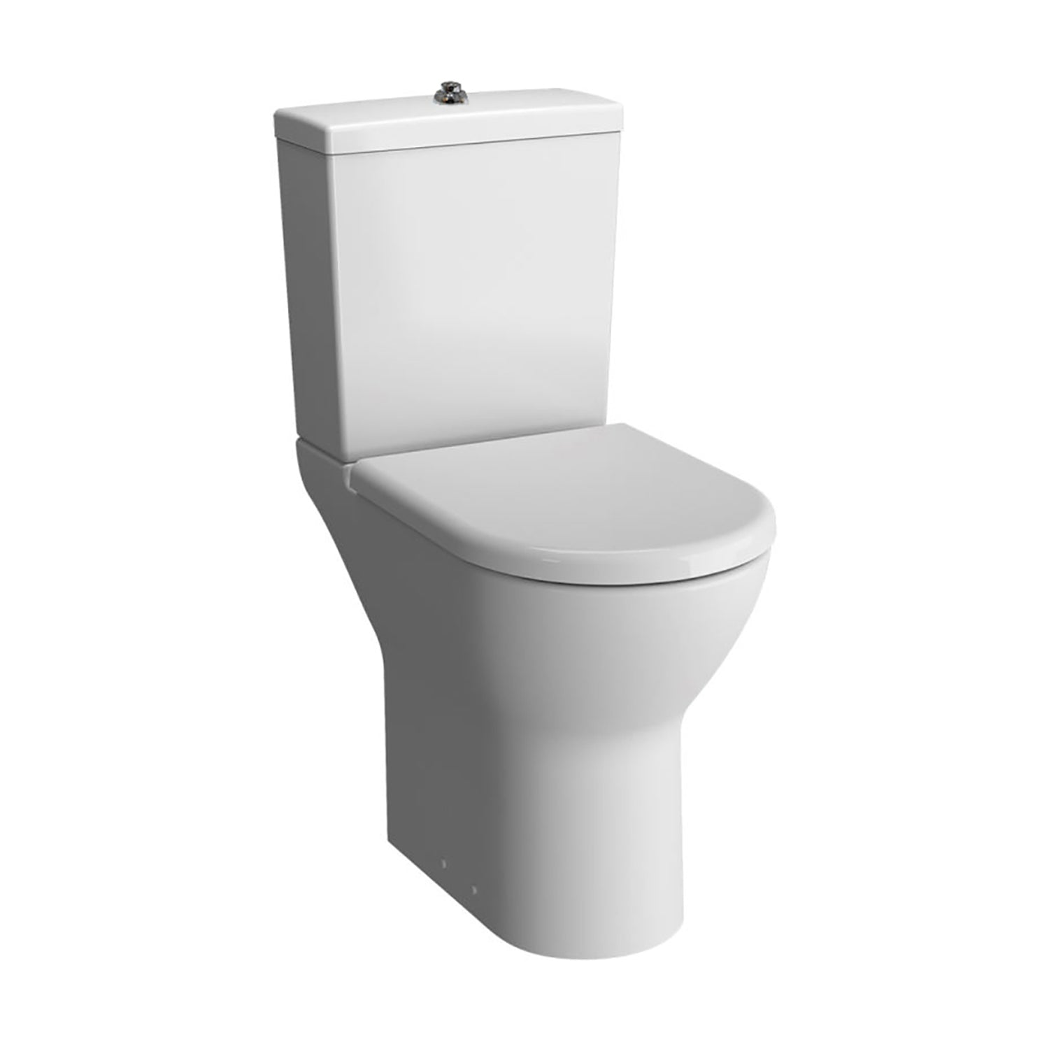 Vesta Comfort Height Close Coupled Toilet with the seat cover and cistern on a white background