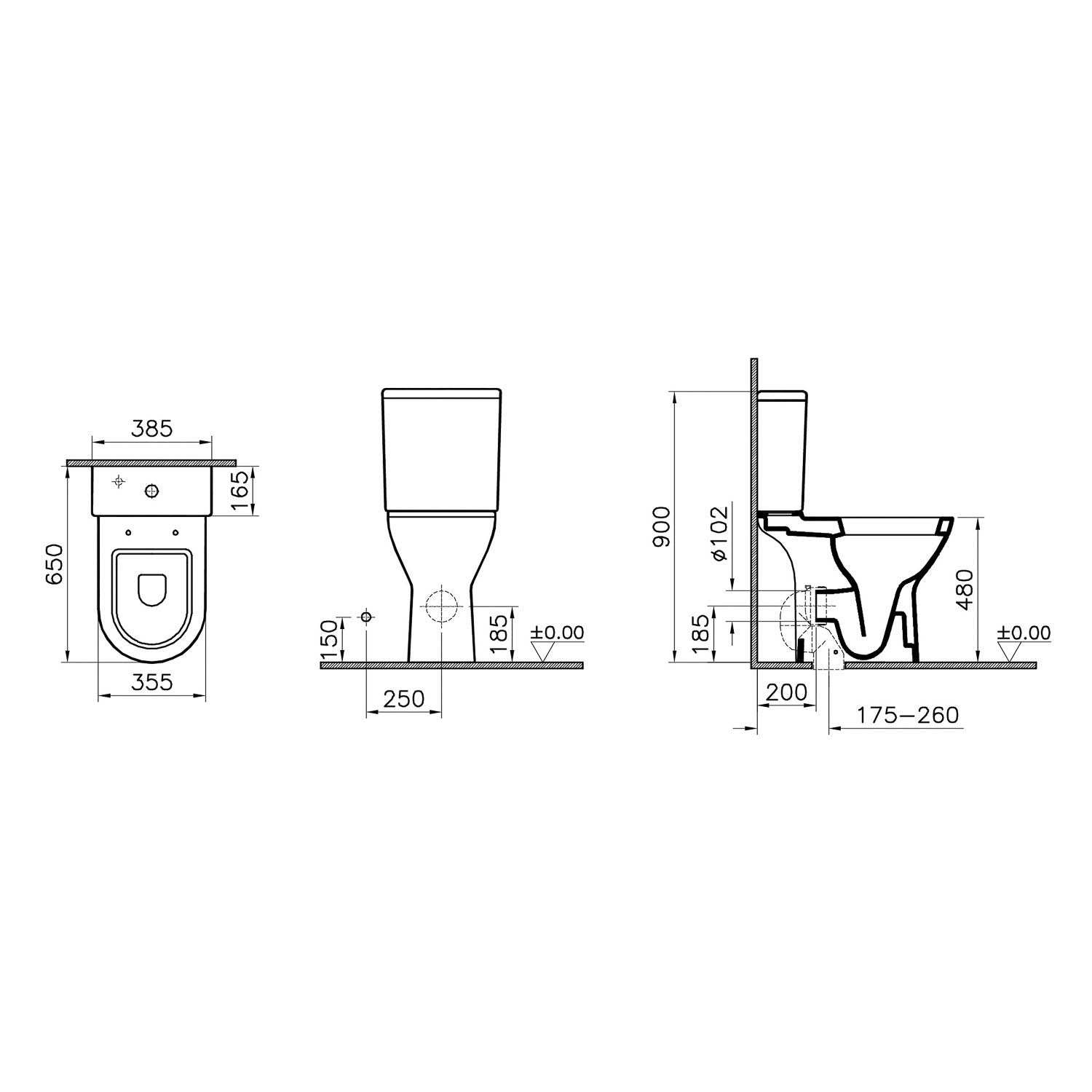 Vesta Comfort Height Close Coupled Toilet with the seat cover and cistern dimensional drawing