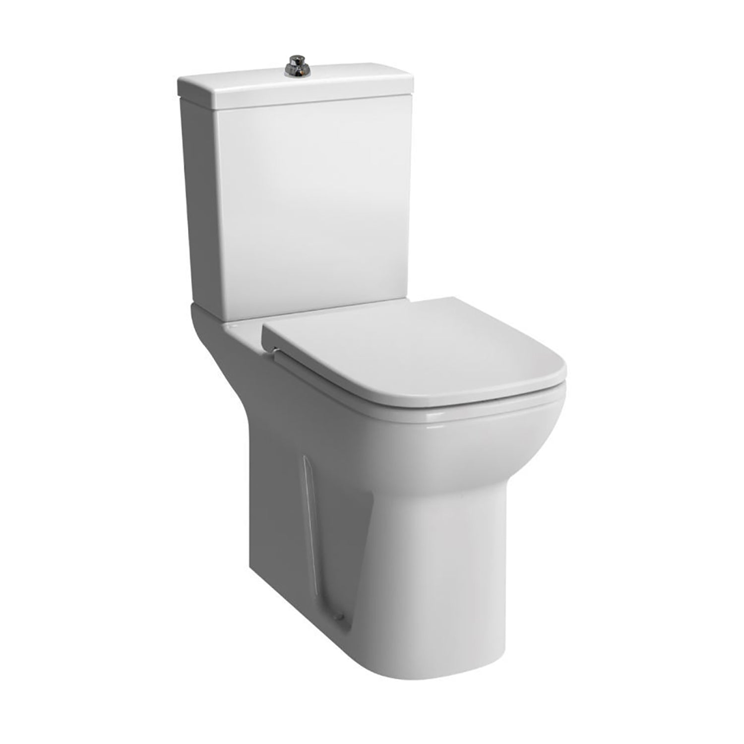 Consilio Comfort Height Close Coupled Toilet with the seat cover and cistern on a white background