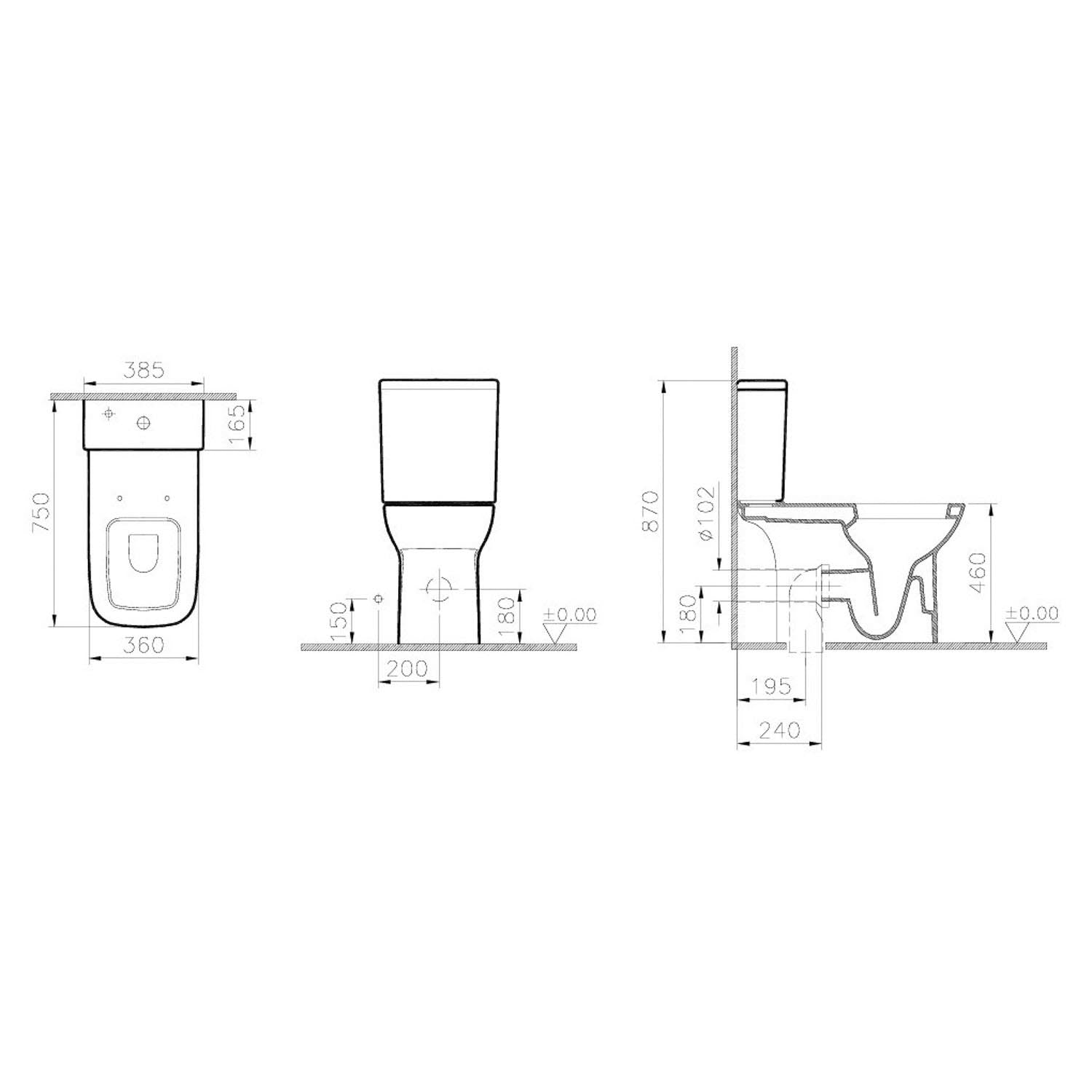 Consilio Comfort Height Close Coupled Toilet with the seat and cistern dimensional drawing