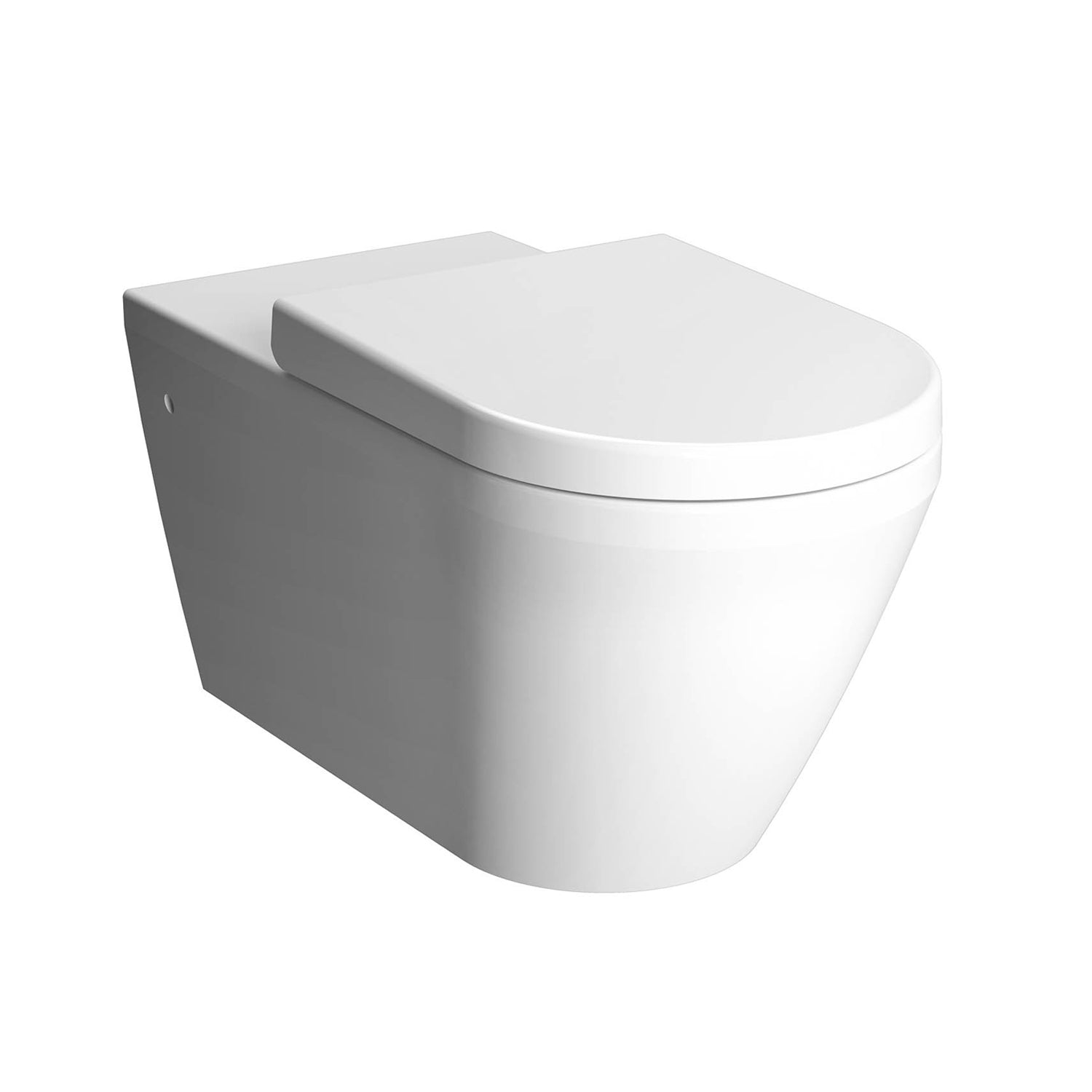 700mm Vesta Long Projection Wall Hung Toilet with a seat and cover on a white background