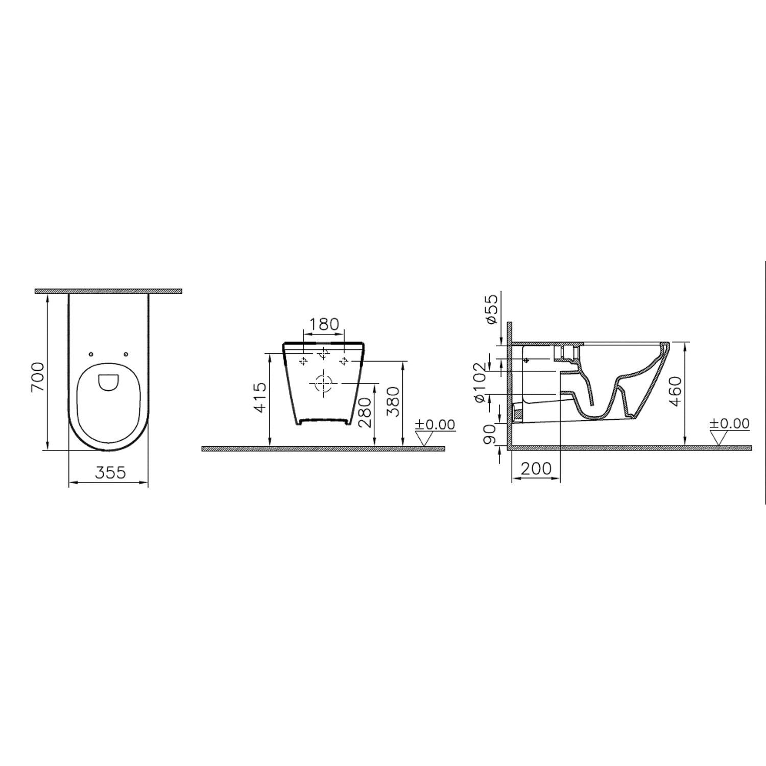 700mm Consilio Long Projection Wall Hung Toilet dimensional drawing